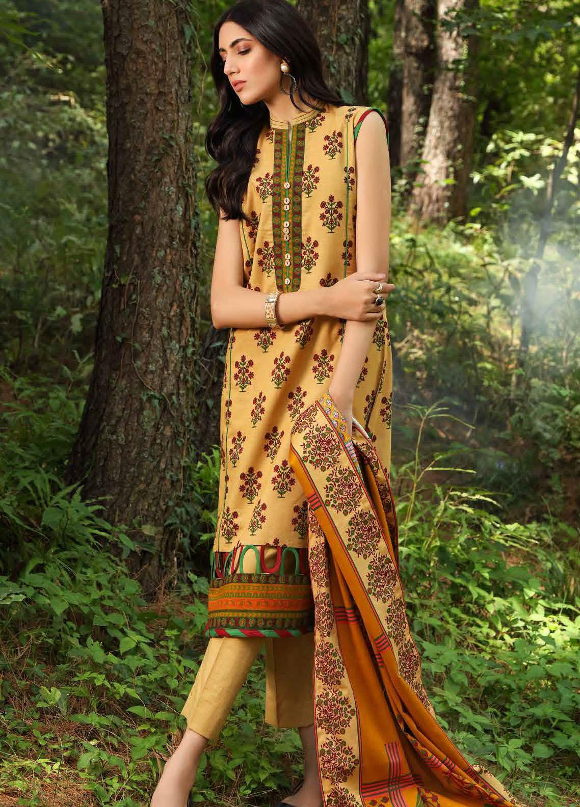 Gul Ahmed Printed Khaddar Suits Unstitched 2 Piece GA21WK TK-12010B - Winter Collection