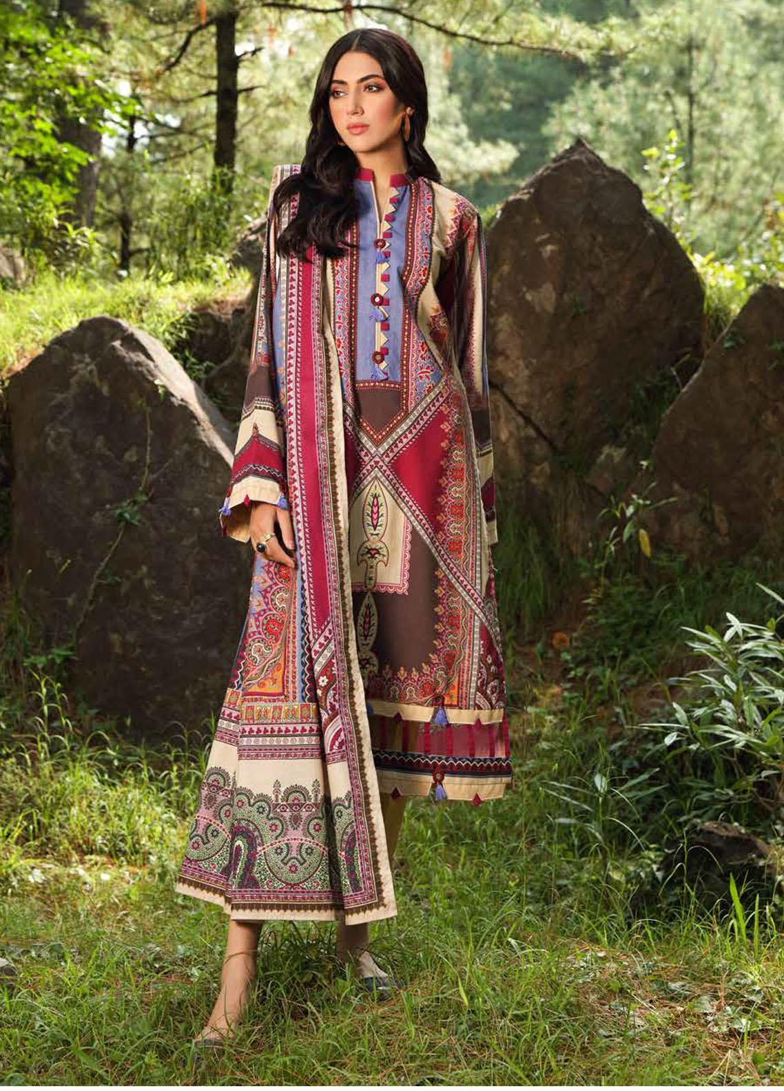 Gul Ahmed Printed Khaddar Suits Unstitched 2 Piece GA21WK TK-12011A - Winter Collection