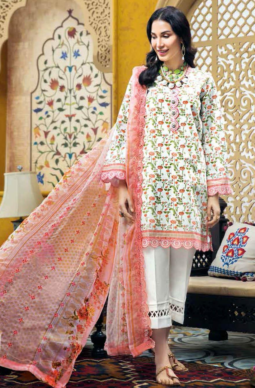 Gul Ahmed Embroidered Lawn Suits Unstitched 3 Piece GA21S BCT 27 - Summer Collection