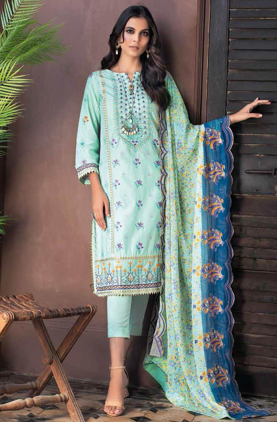 Gul Ahmed Embroidered Lawn Suits Unstitched 3 Piece GA21S BCT 41 - Summer Collection