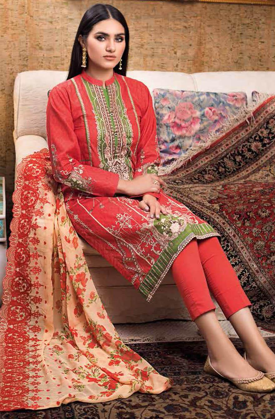 Gul Ahmed Embroidered Lawn Suits Unstitched 3 Piece GA21S BCT 45 - Summer Collection