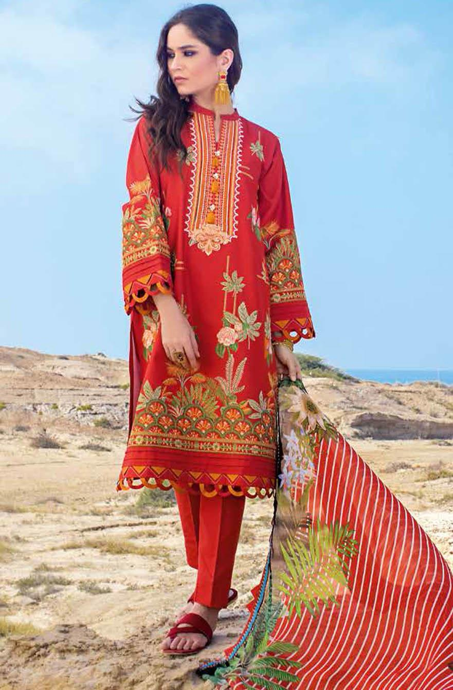 Gul Ahmed Embroidered Lawn Suits Unstitched 3 Piece GA21S BM 167 - Summer Collection