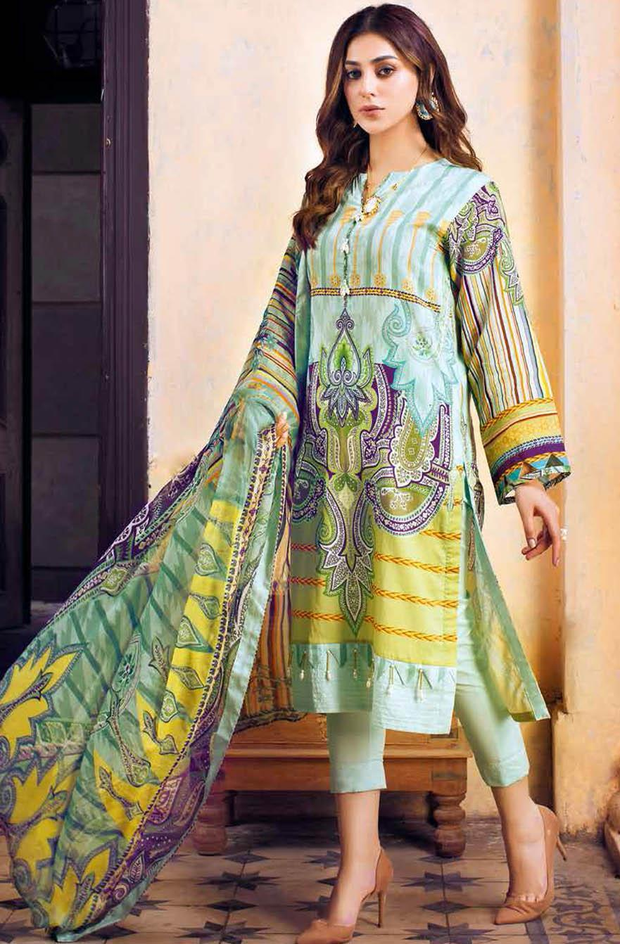 Gul Ahmed Printed Leno Suits Unstitched 3 Piece GA21S BM 171 - Summer Collection