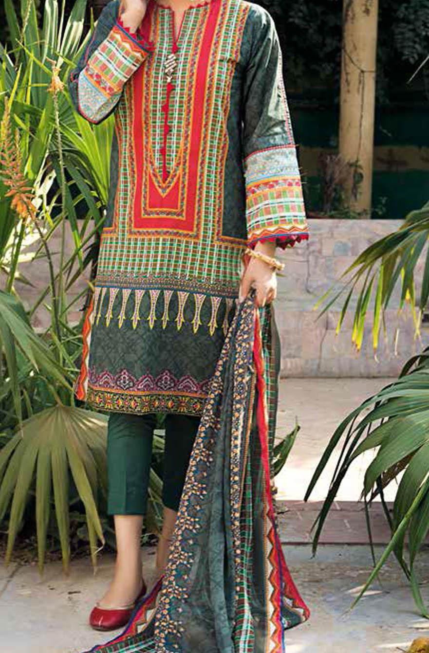 Gul Ahmed Printed Leno Suits Unstitched 3 Piece GA21S BM 189 - Summer Collection