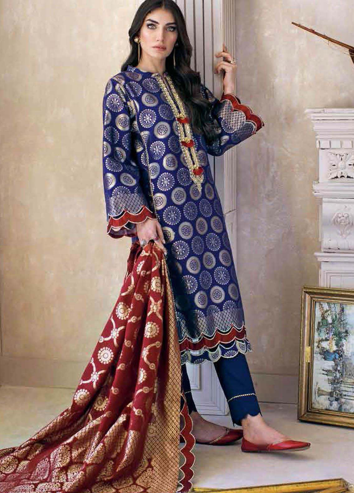 Gul Ahmed Embroidered Jacquard Suits Unstitched 3 Piece GA21S MJ 56 - Summer Collection