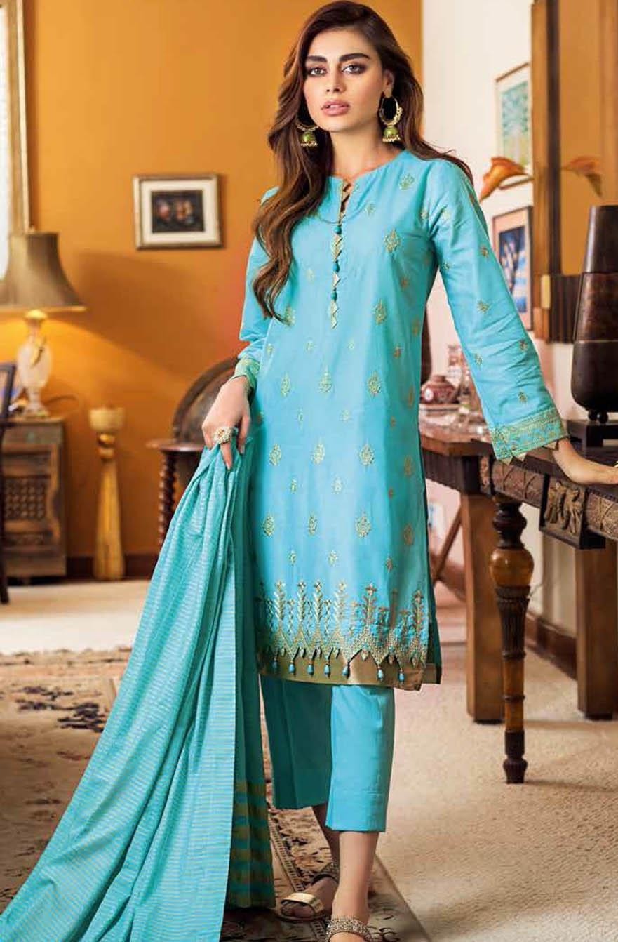 Gul Ahmed Embroidered Lawn Suits Unstitched 3 Piece GA21S MJ 84 - Summer Collection
