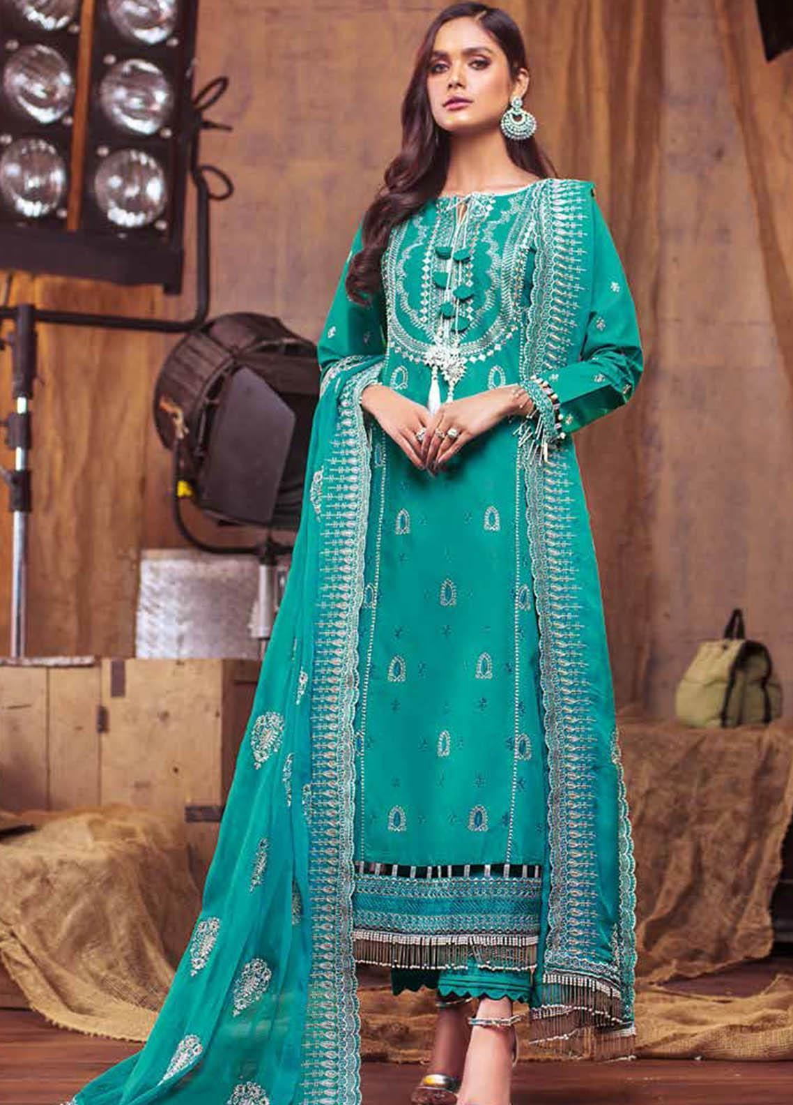 Gul Ahmed Embroidered Lawn Suits Unstitched 3 Piece GA21S PM 395 - Summer Collection