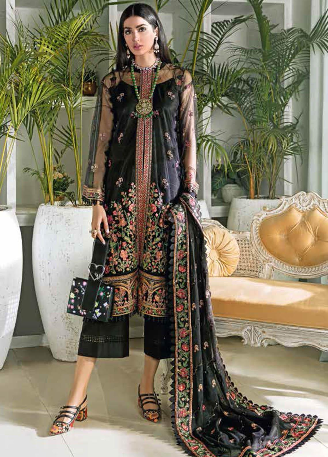 Gul Ahmed Embroidered Net Suits Unstitched 3 Piece GA21S SP 14 - Summer Collection