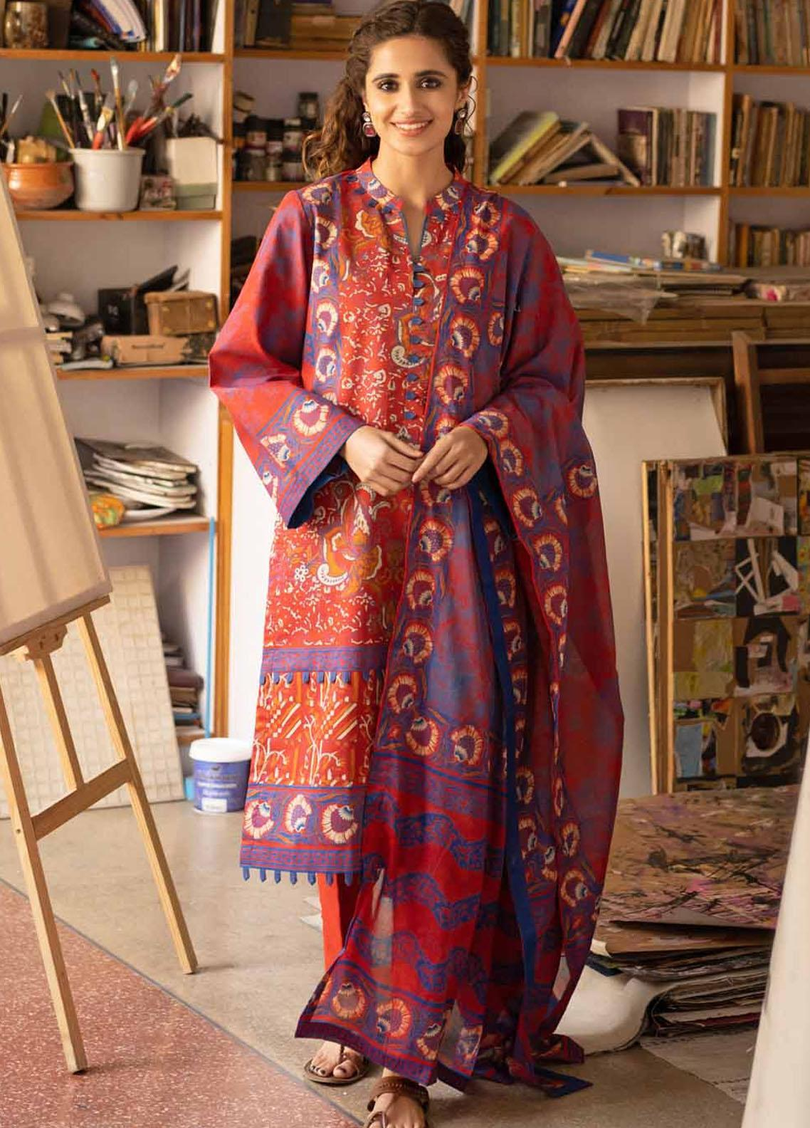 Rang Angan By Gul Ahmed Printed Lawn Suits Unstitched 3 Piece GA21RA CL-1269 B - Summer Collection