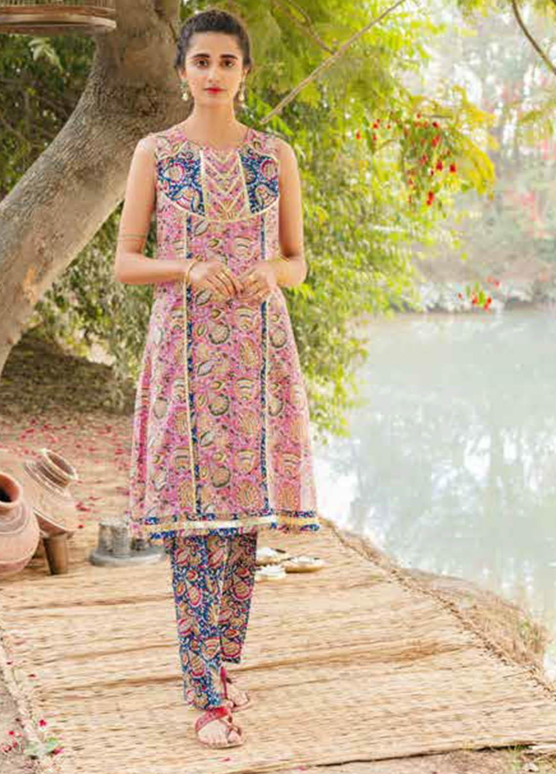 Gul Ahmed Printed Lawn Kurties Unstitched GA21VG SL 886-A - Summer Collection