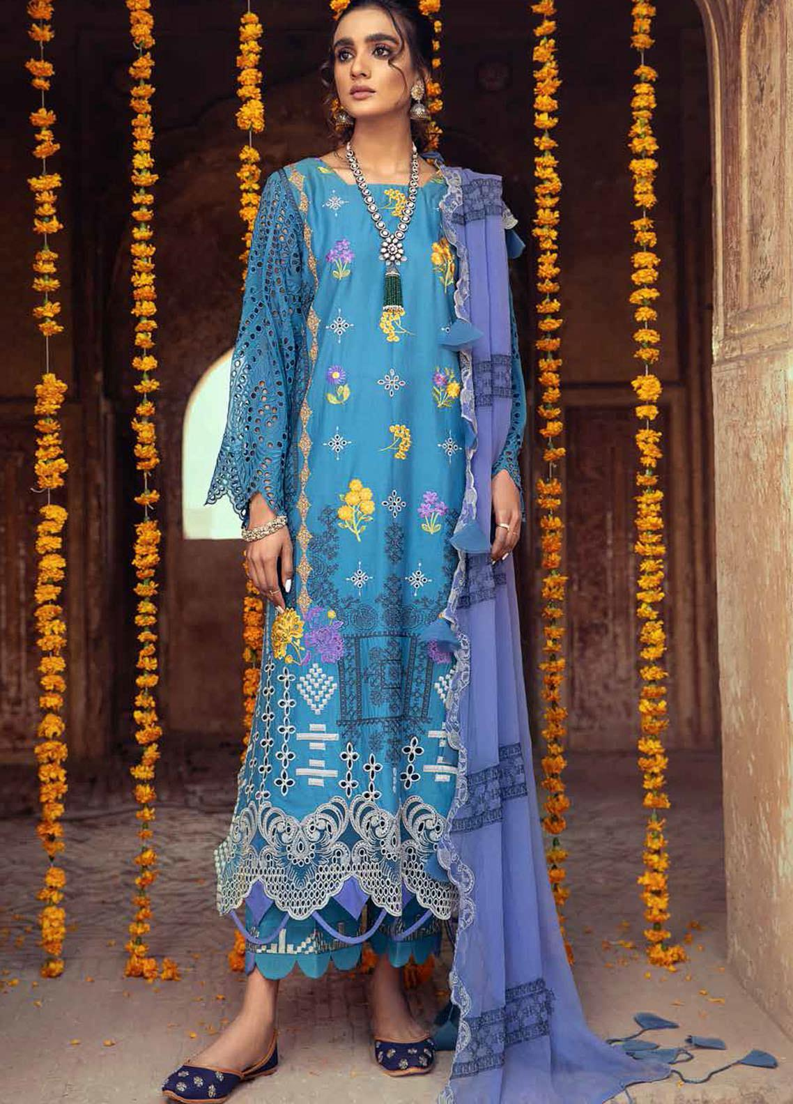 Gulzar By Charizma Embroidered Lawn Suits Unstitched 3 Piece CRZ21G 05 Blue Casa - Summer Collection