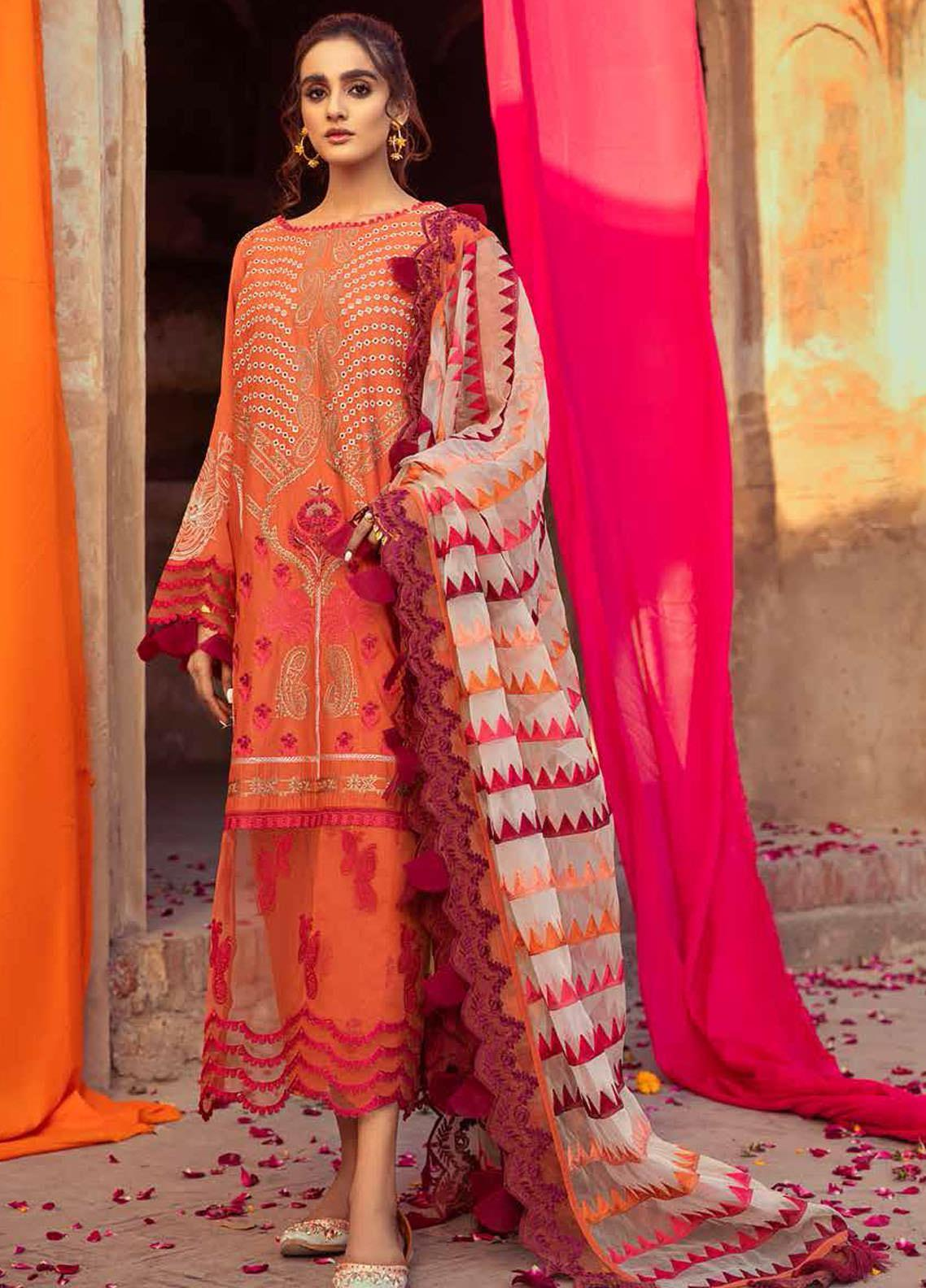 Gulzar By Charizma Embroidered Lawn Suits Unstitched 3 Piece CRZ21G 07 Saffron - Summer Collection