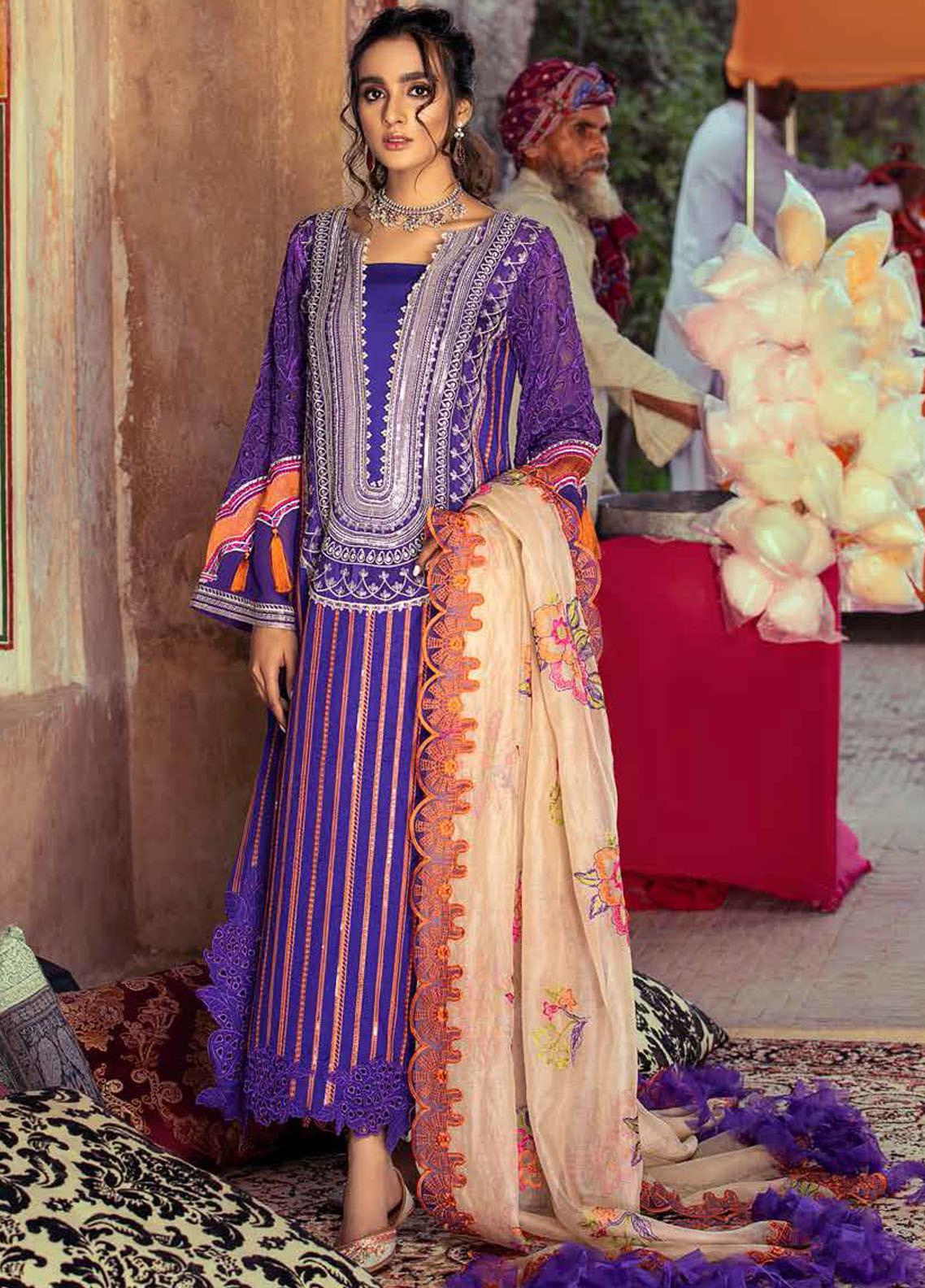 Gulzar By Charizma Embroidered Lawn Suits Unstitched 3 Piece CRZ21G 10 Pure Radiance - Summer Collection