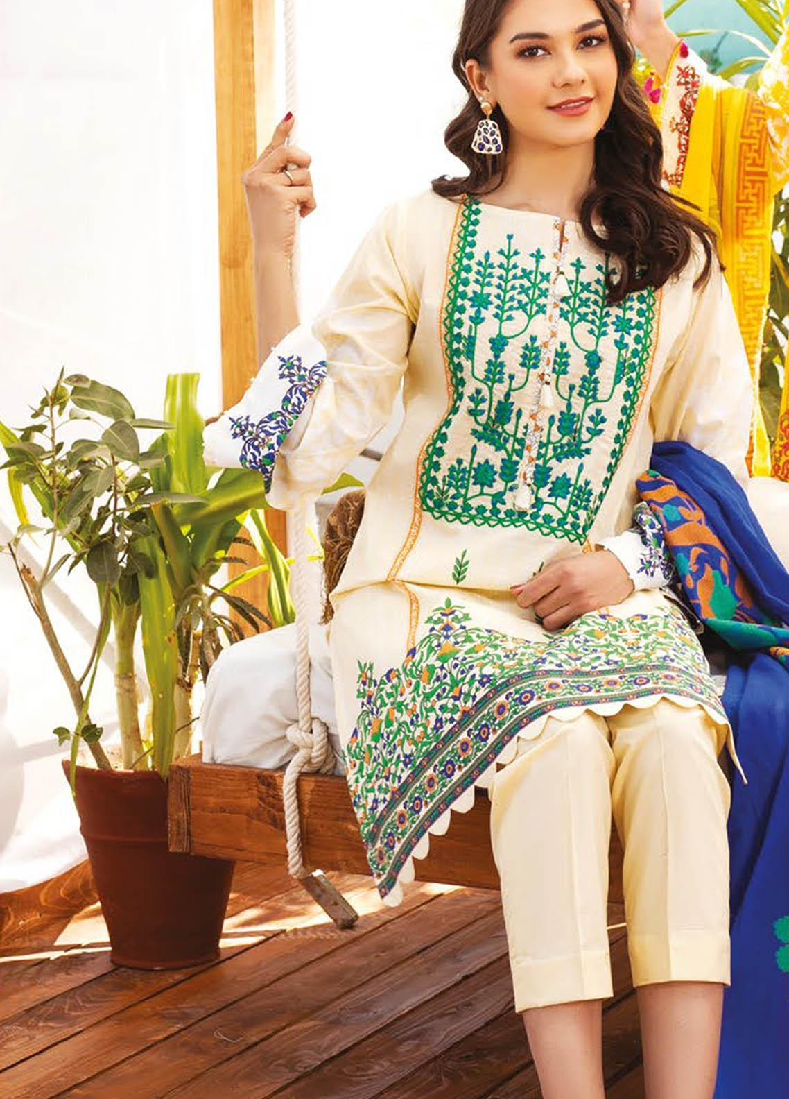 Orient Textile Embroidered Lawn Suits Unstitched 3 Piece OTL-20-141 Off White - Summer Collection