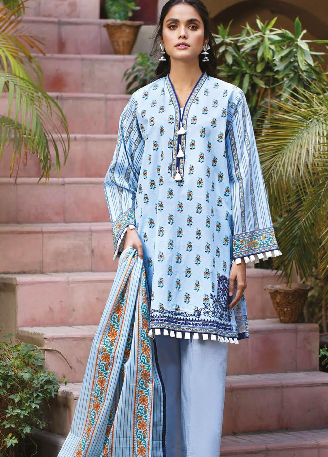 Orient Textile Embroidered Lawn Suits Unstitched 3 Piece OTL-21-008 Blue - Summer Collection