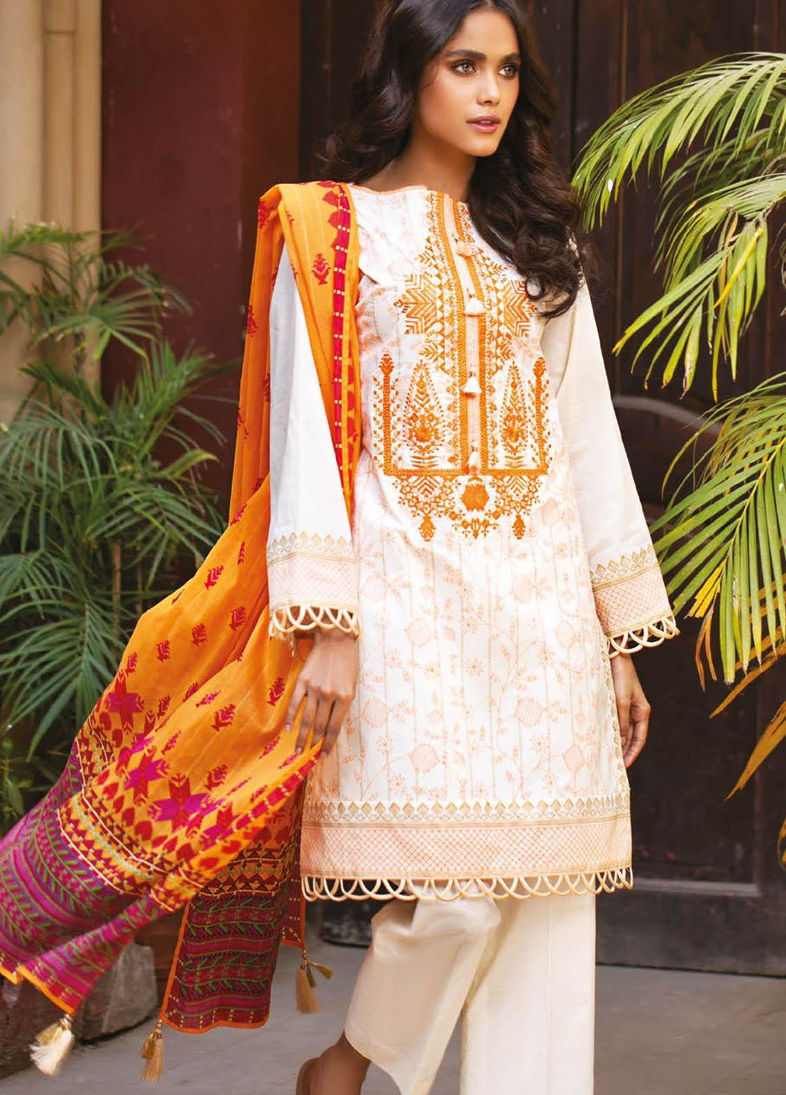 Orient Textile Embroidered Lawn Suits Unstitched 3 Piece OTL-21-009 Yellow - Summer Collection