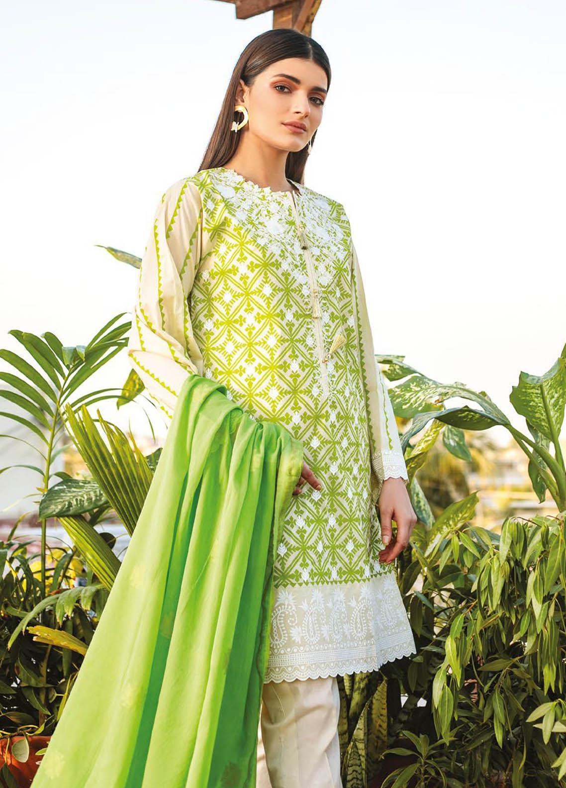 Orient Textile Embroidered Lawn Suits Unstitched 3 Piece OTL-21-018 Green - Summer Collection