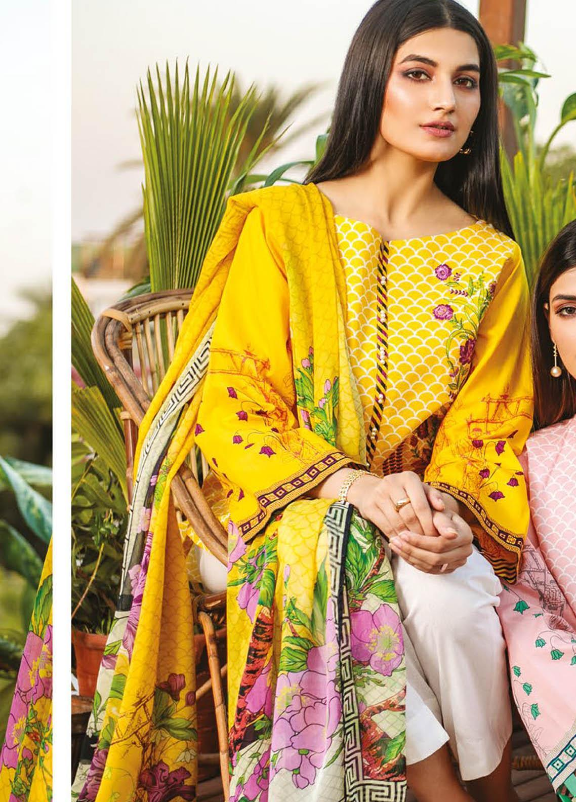 Orient Textile Embroidered Lawn Suits Unstitched 3 Piece OTL-21-021 Yellow - Summer Collection