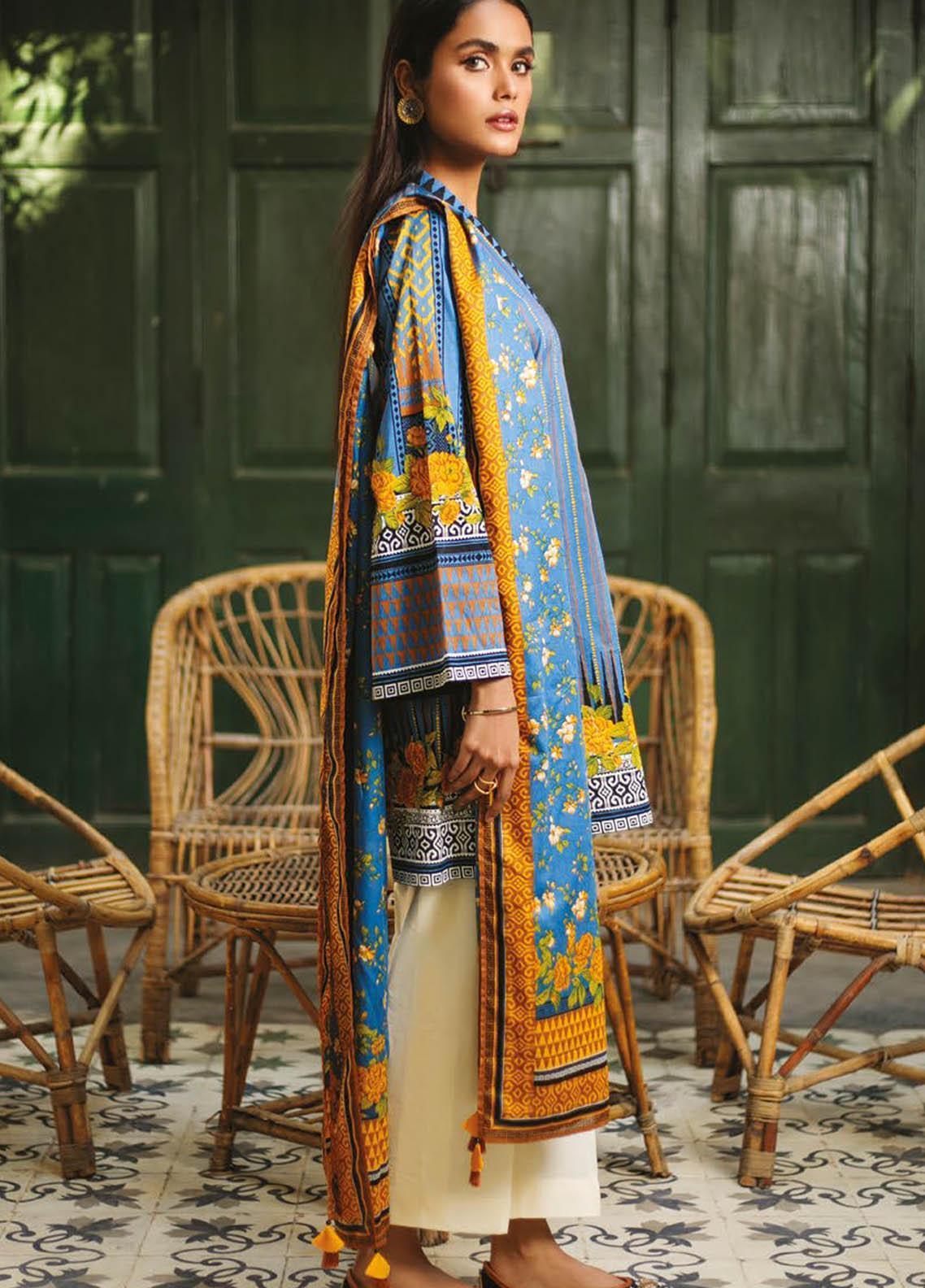 Orient Textile Printed Lawn Suits Unstitched 2 Piece OTL-21-024 Blue - Summer Collection