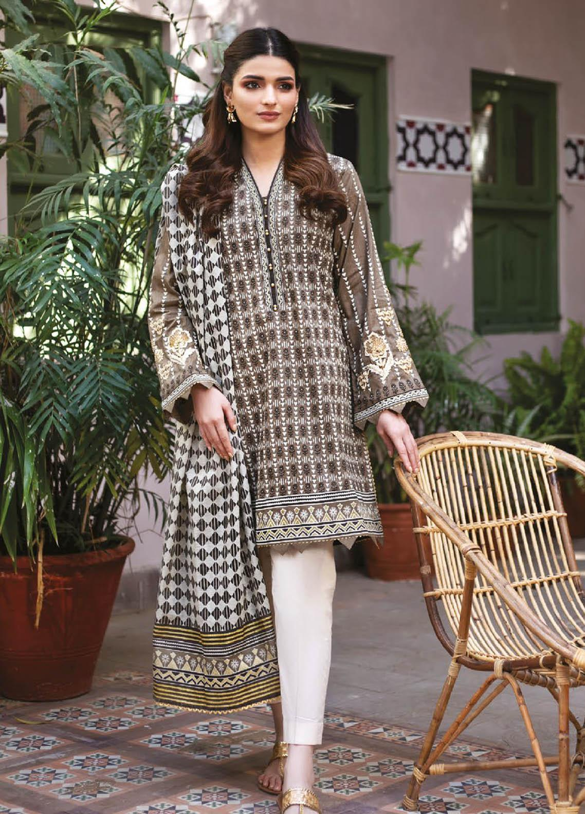 Orient Textile Embroidered Lawn Suits Unstitched 2 Piece OTL-21-028 Green - Summer Collection