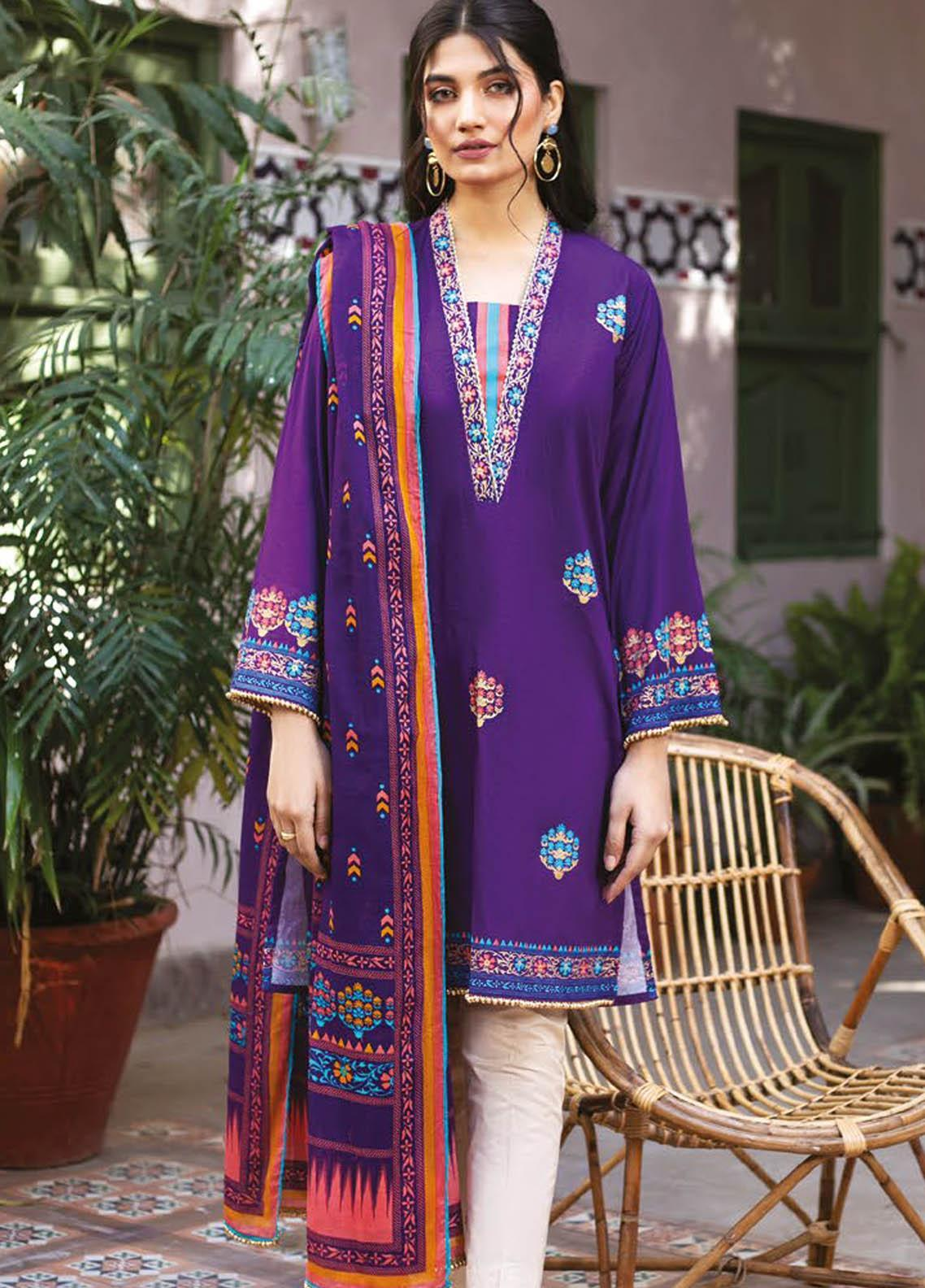 Orient Textile Printed Lawn Suits Unstitched 2 Piece OTL-21-029 Purple - Summer Collection