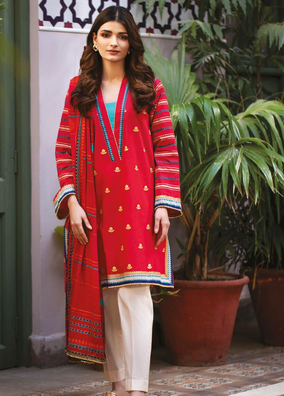 Orient Textile Printed Lawn Suits Unstitched 2 Piece OTL-21-030 Red - Summer Collection