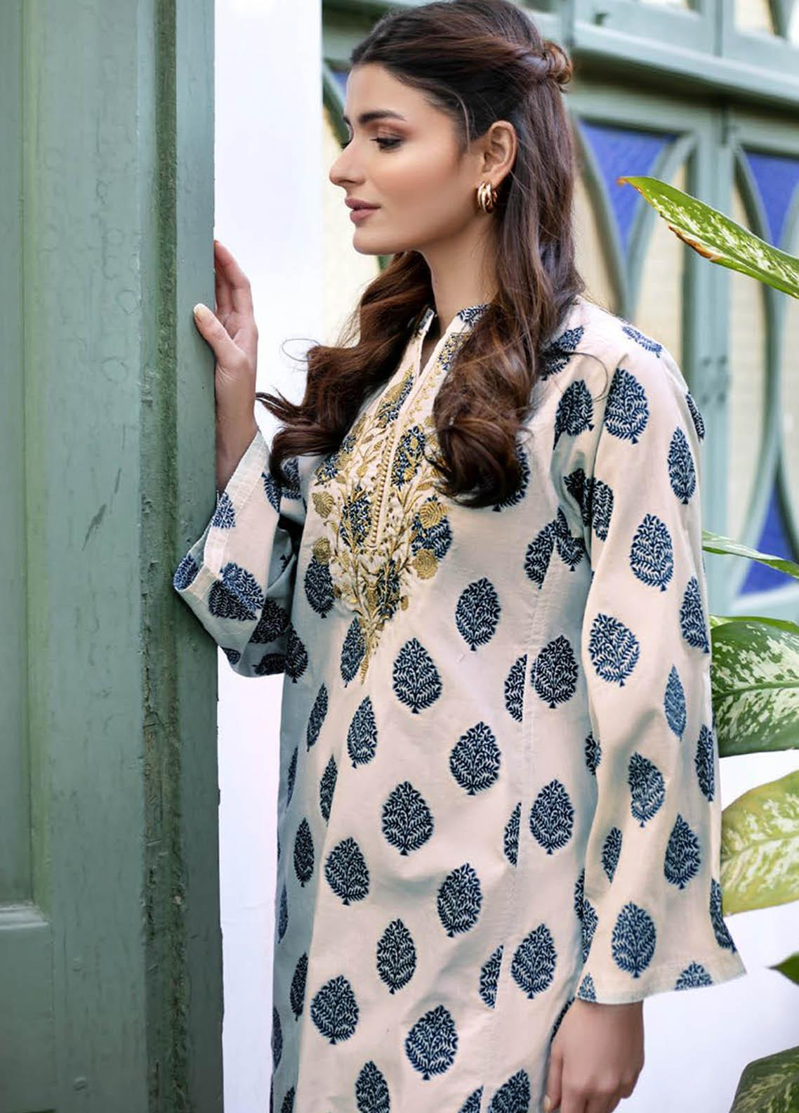 Orient Textile Embroidered Jacquard  Unstitched Kurties OTL-21-031 Off White - Summer Collection