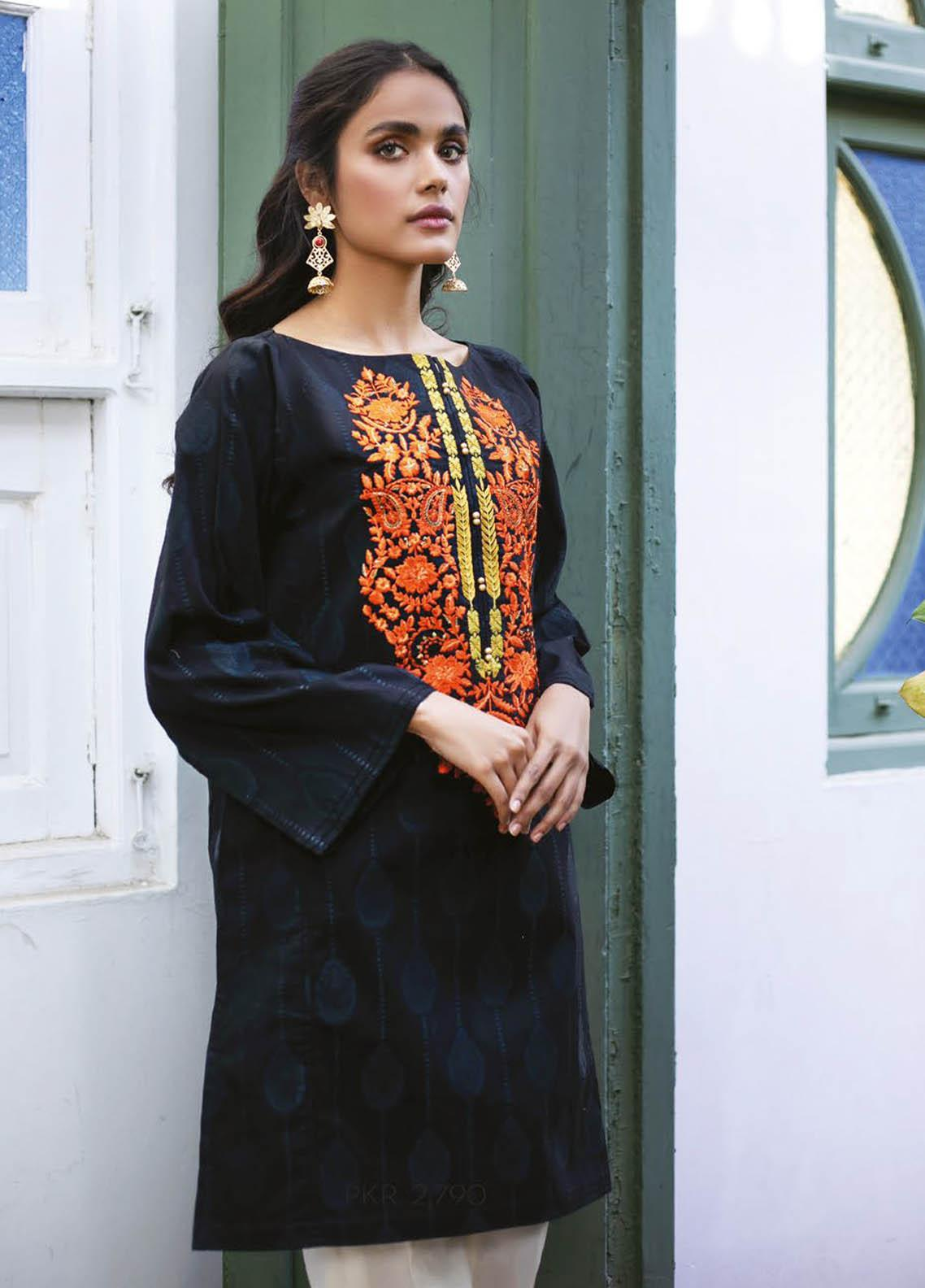 Orient Textile Embroidered Jacquard  Unstitched Kurties OTL-21-032 Black - Summer Collection