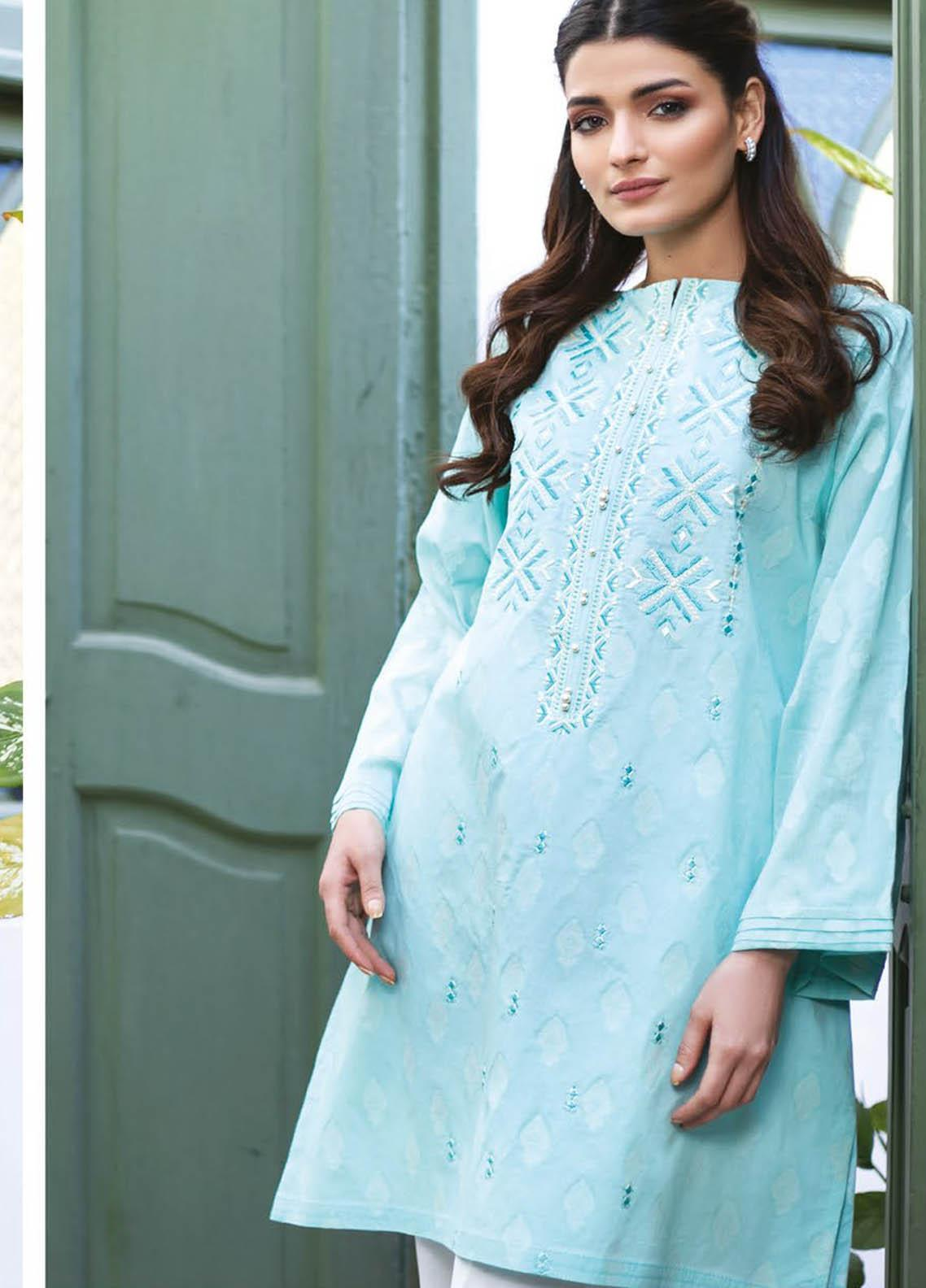 Orient Textile Embroidered Jacquard  Unstitched Kurties OTL-21-033 Blue - Summer Collection