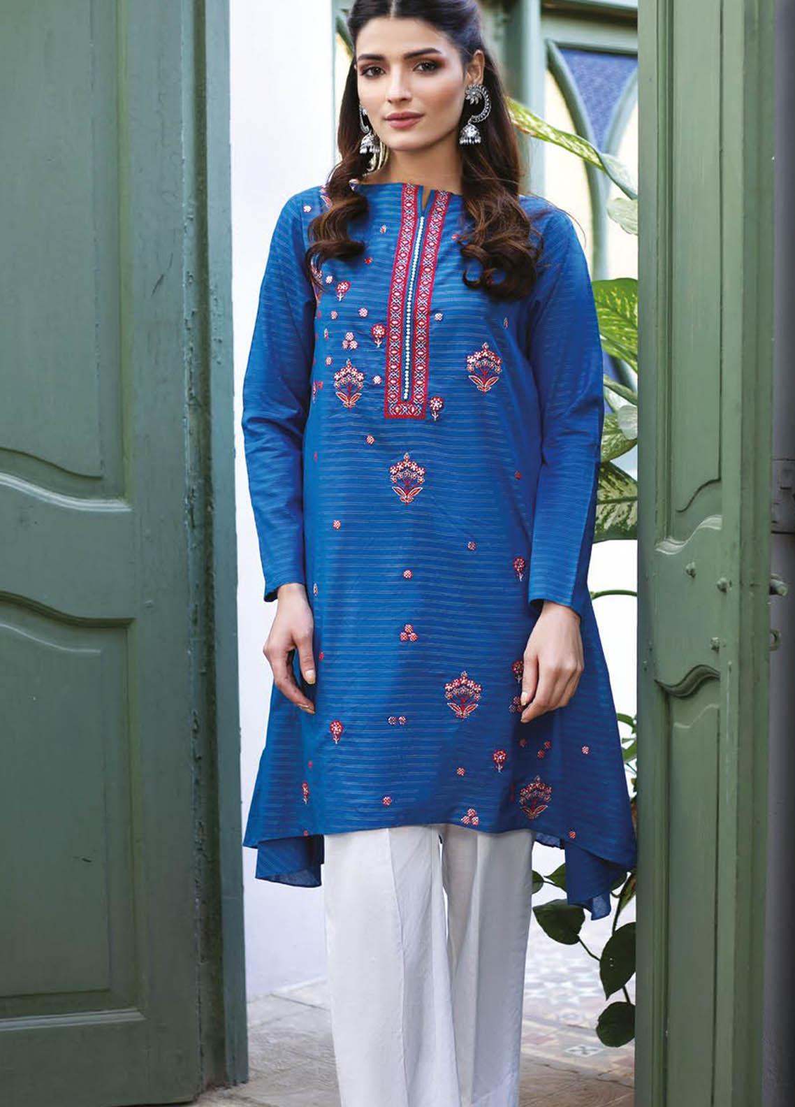 Orient Textile Embroidered Missouri  Unstitched Kurties OTL-21-034 Blue - Summer Collection