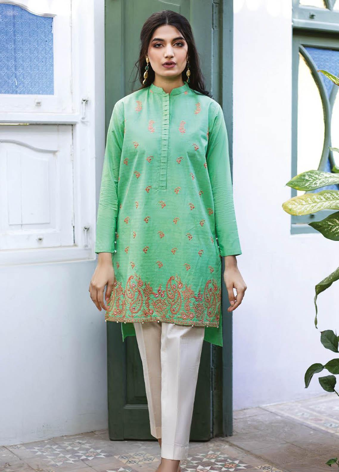 Orient Textile Embroidered Missouri  Unstitched Kurties OTL-21-035 Green - Summer Collection