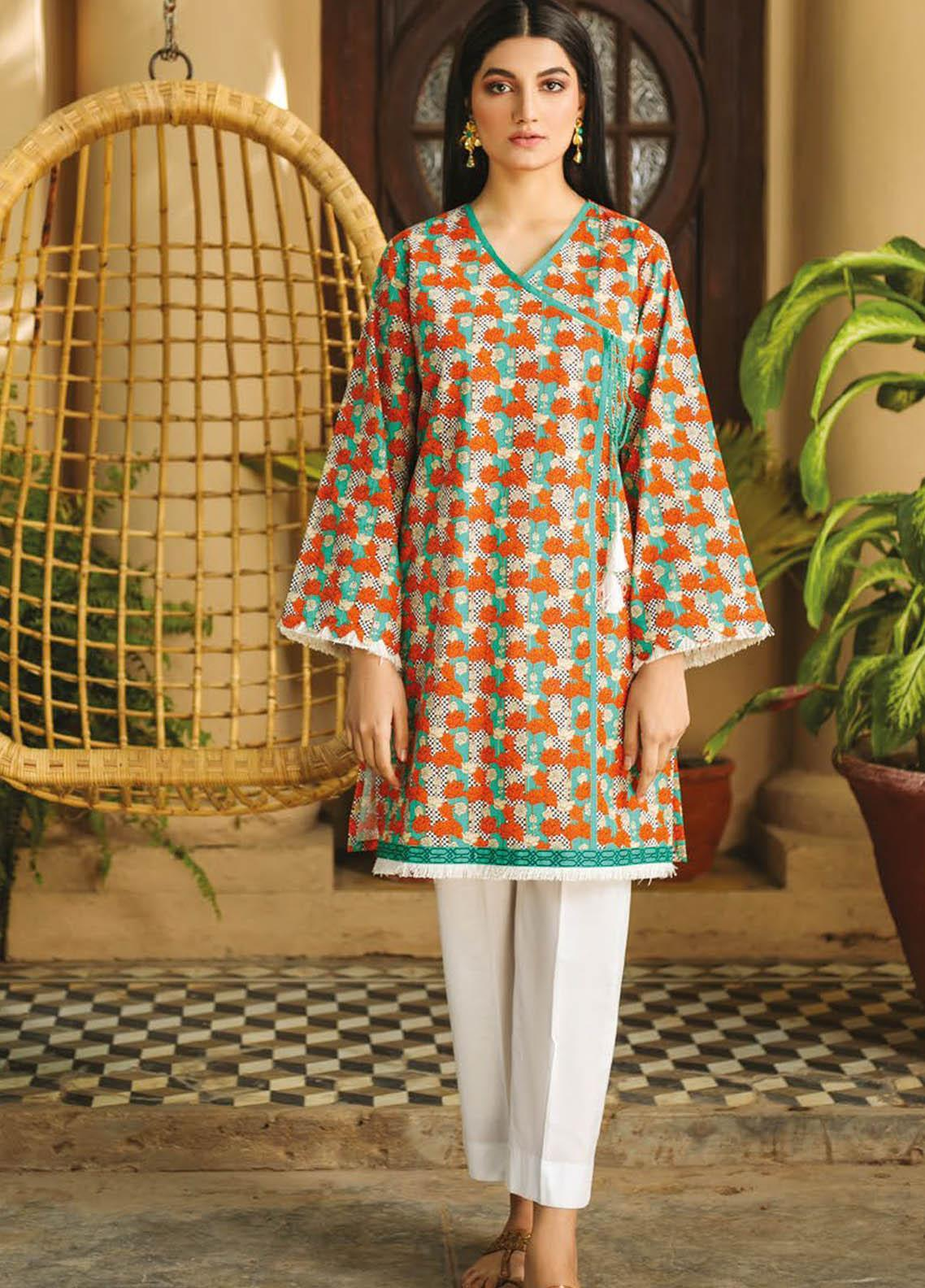 Orient Textile Printed Lawn  Unstitched Kurties OTL-21-038 Green - Summer Collection