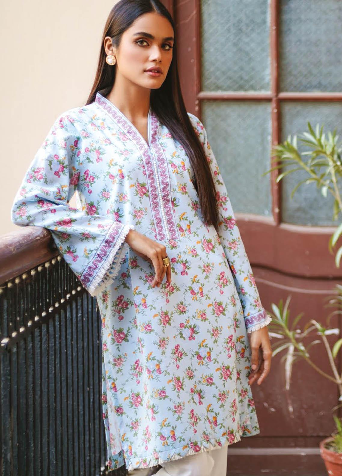 Orient Textile Printed Lawn  Unstitched Kurties OTL-21-039 Blue - Summer Collection