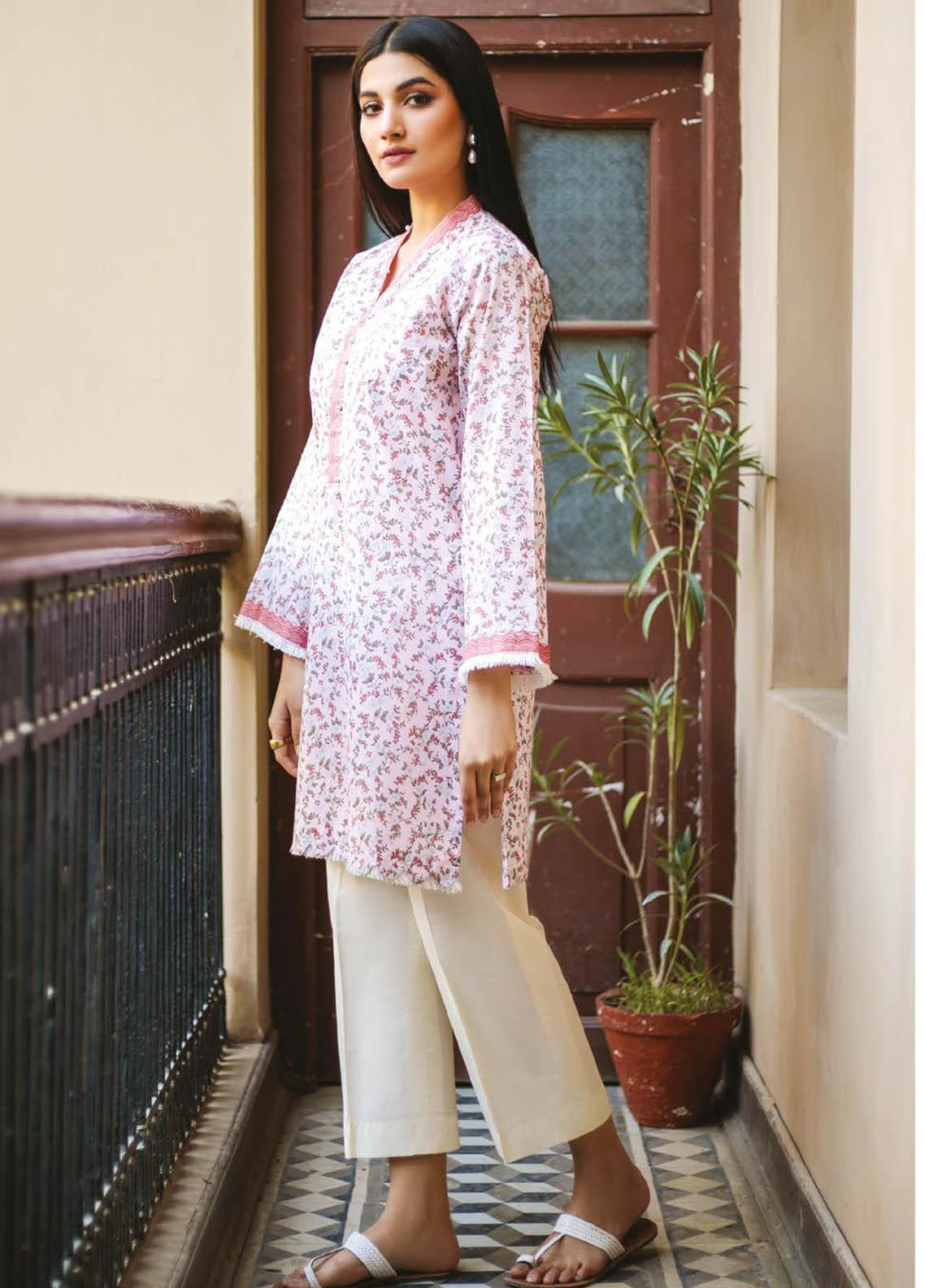 Orient Textile Printed Lawn  Unstitched Kurties OTL-21-040 Pink - Summer Collection