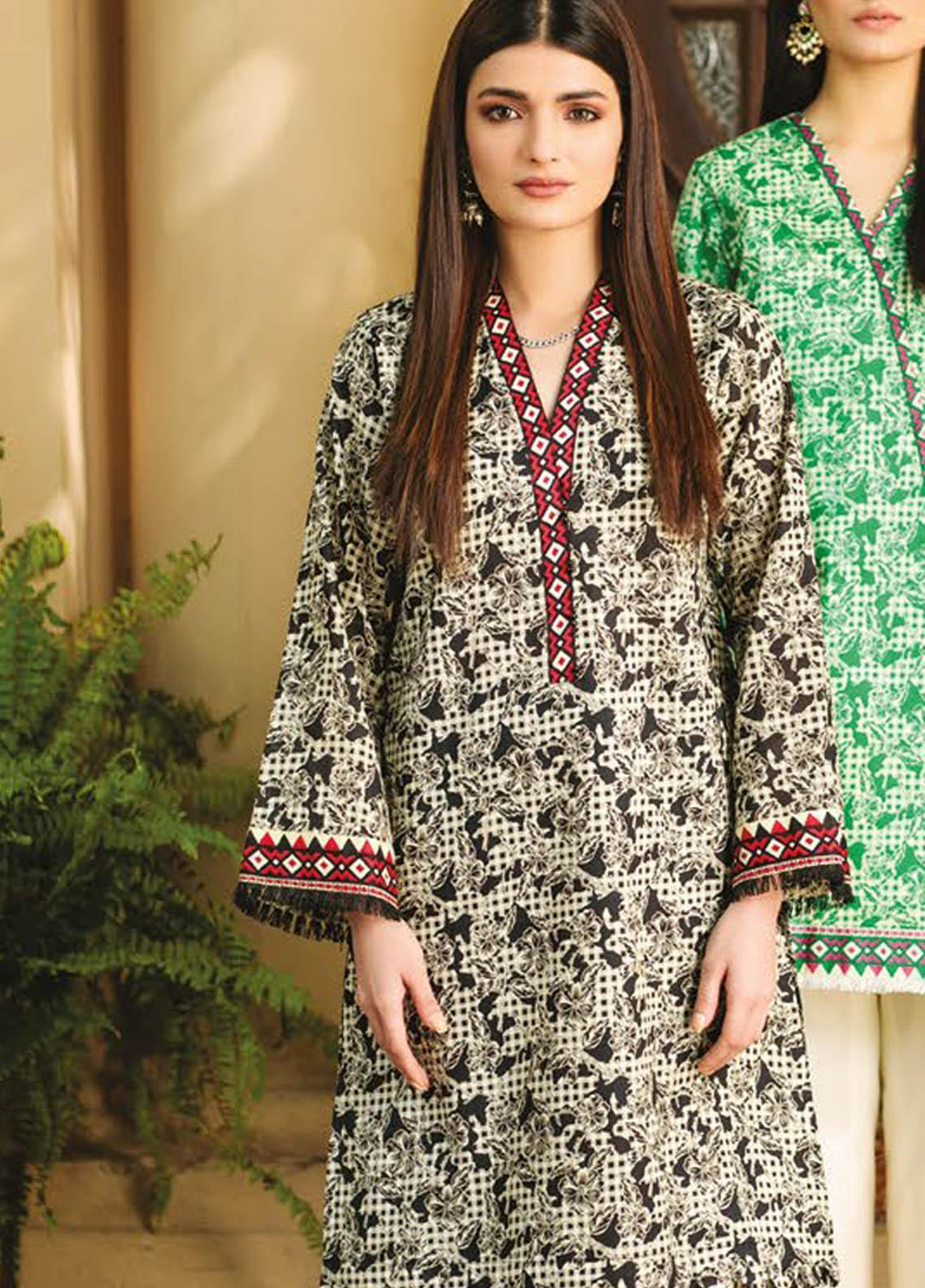 Orient Textile Printed Lawn  Unstitched Kurties OTL-21-042 Black - Summer Collection