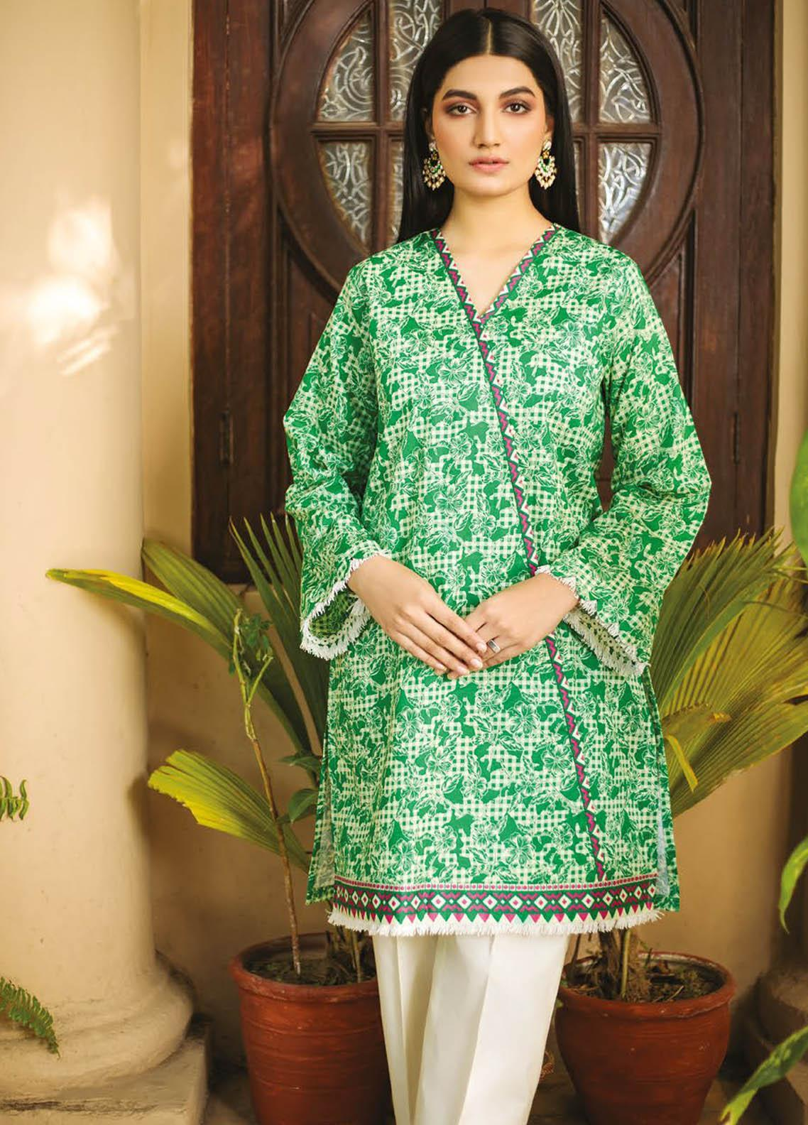 Orient Textile Printed Lawn  Unstitched Kurties OTL-21-042 Green - Summer Collection