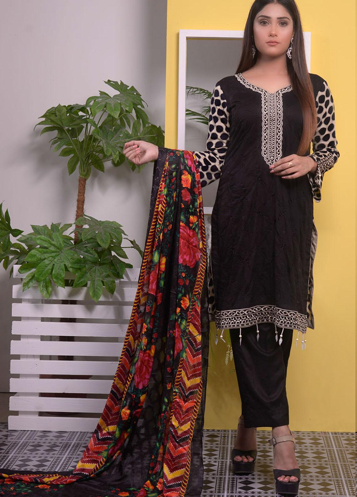 Halima Sultan Embroidered Linen Unstitched 3 Piece Suit HS20LW D-04 - Winter Collection