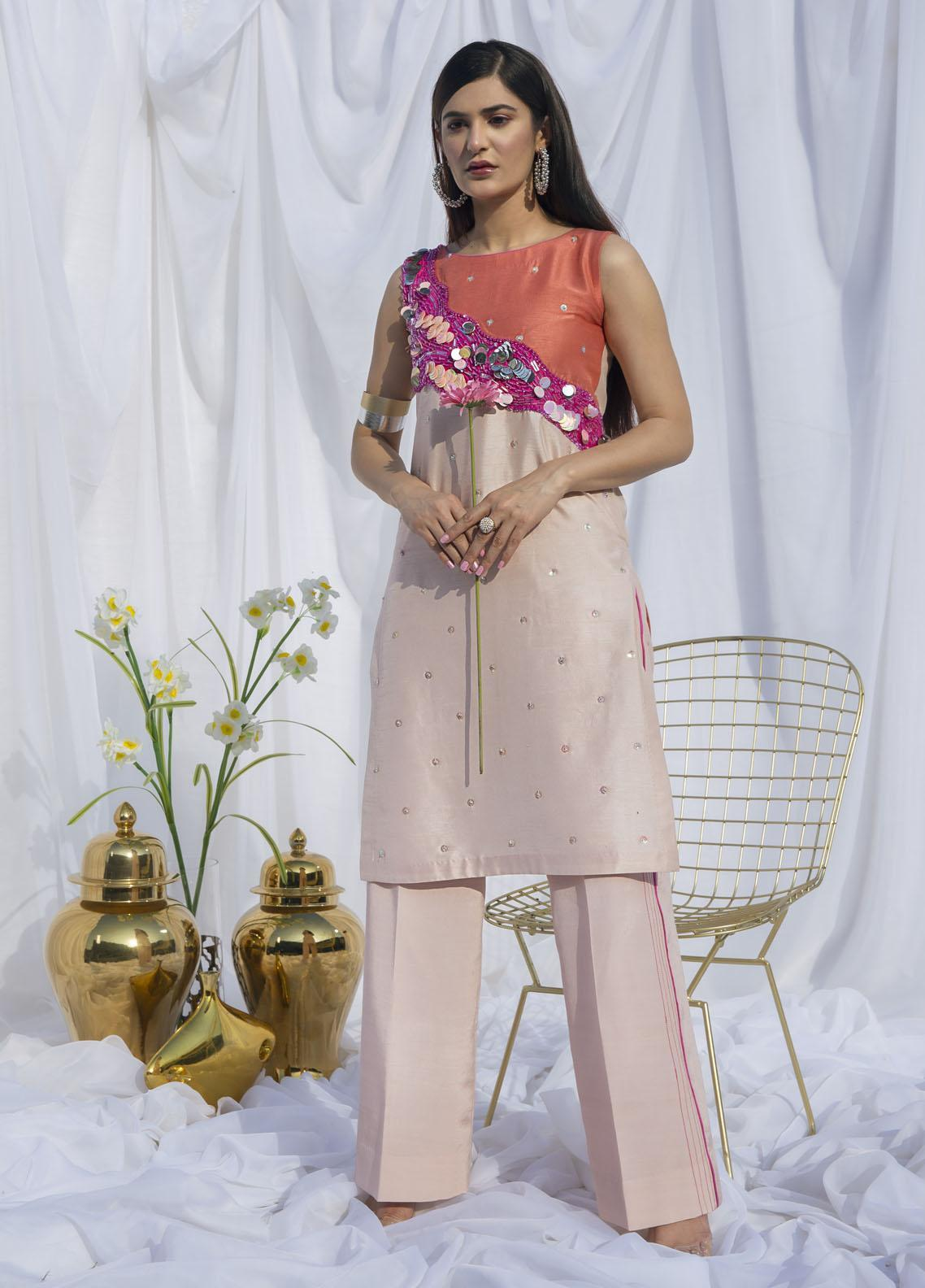 Hana Luxury Pret Embroidered Raw Silk 2 Piece Dress Carnation