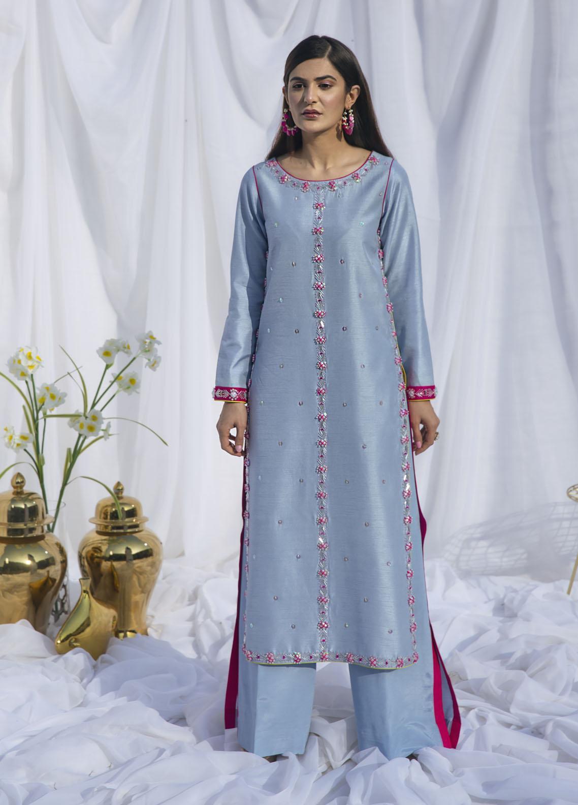 Hana Luxury Pret Embroidered Raw Silk 2 Piece Dress Carolina