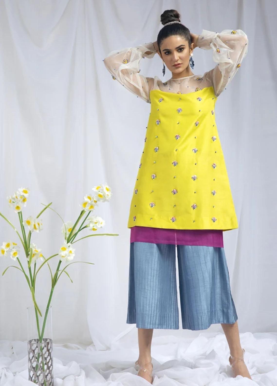 Hana Luxury Pret Embroidered Raw Silk 2 Piece Dress Citrus Twist