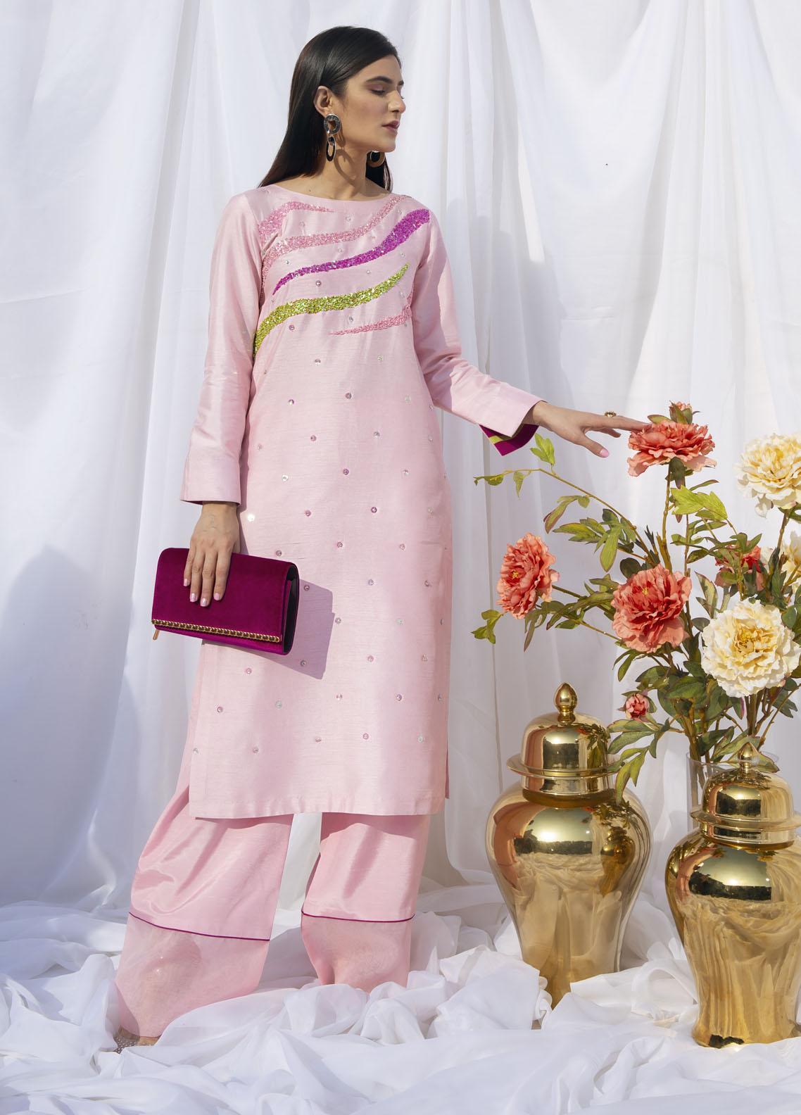 Hana Luxury Pret Embroidered Raw Silk 2 Piece Dress Curvy Candy