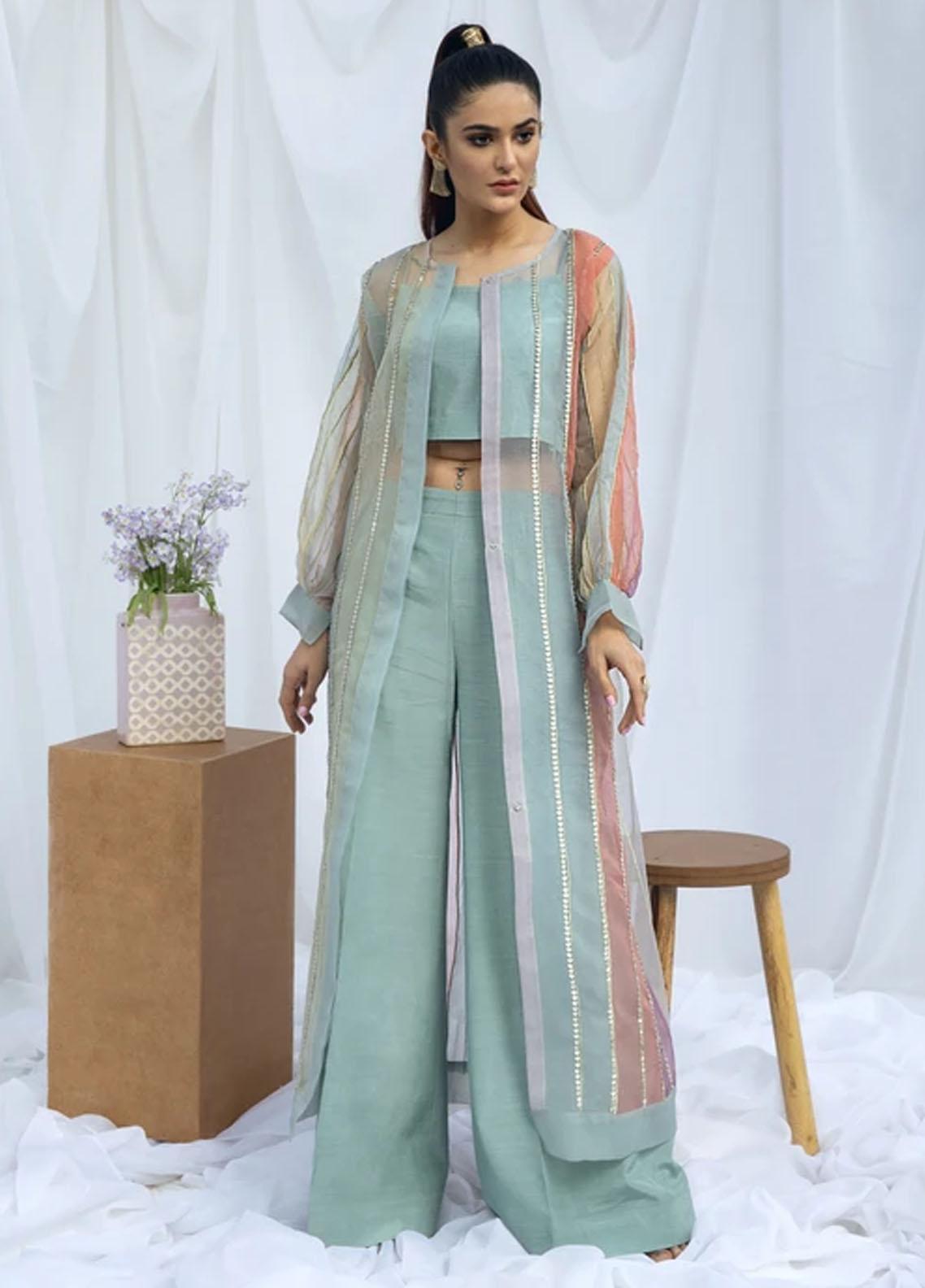 Hana Luxury Pret Embroidered Raw Silk 2 Piece Dress Island teal