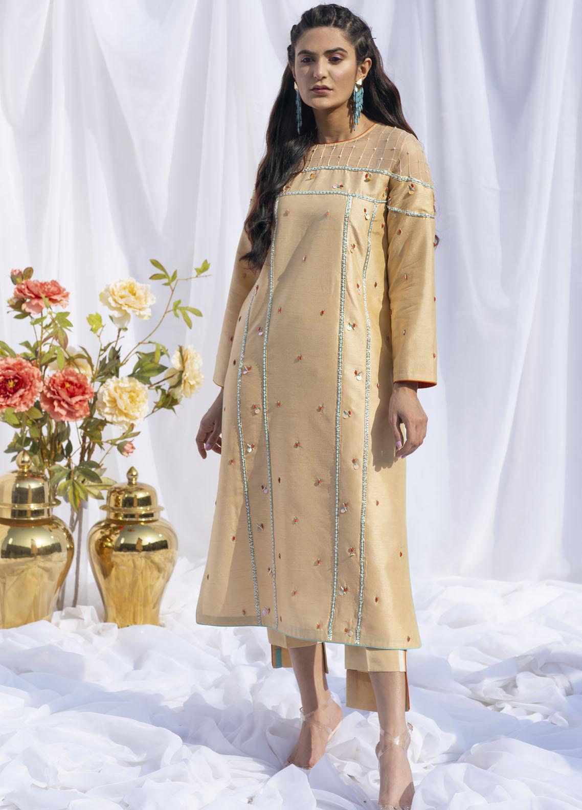 Hana Luxury Pret Embroidered Raw Silk 2 Piece Dress Marigold