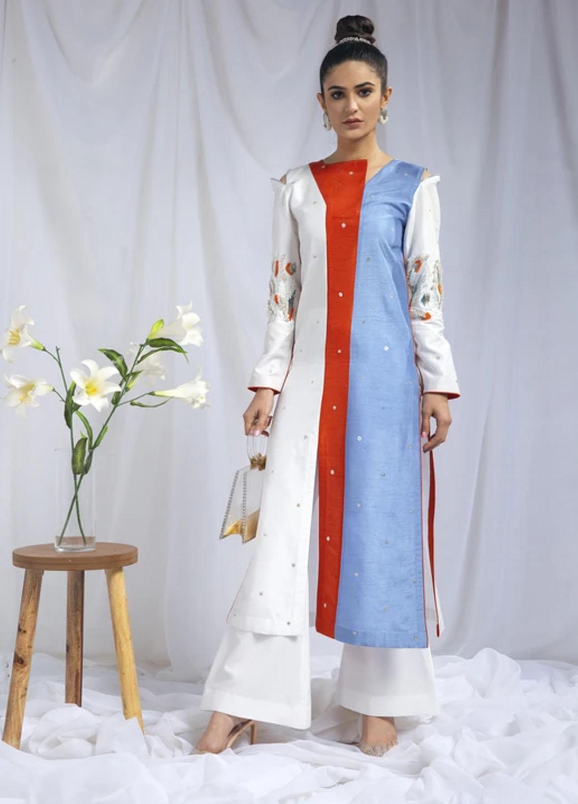 Hana Luxury Pret Embroidered Raw Silk 2 Piece Dress Marlin
