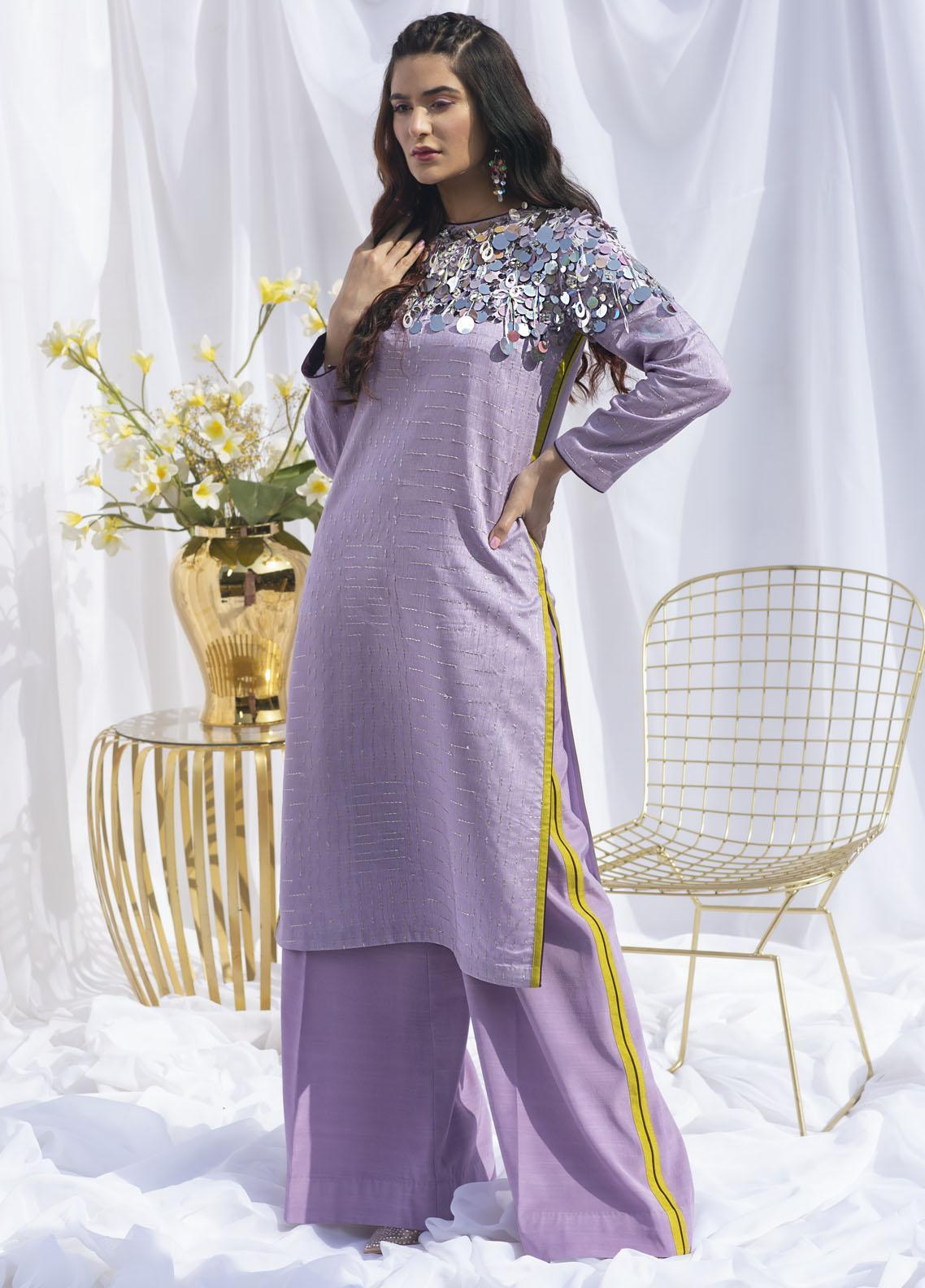 Hana Luxury Pret Embroidered Raw Silk 2 Piece Dress Opera