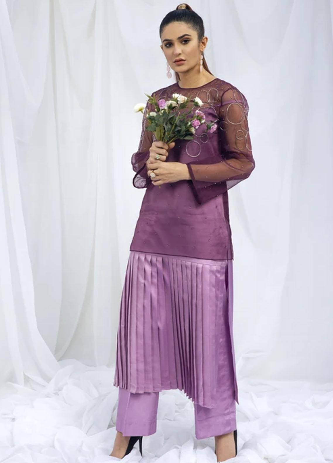 Hana Luxury Pret Embroidered Raw Silk 2 Piece Dress Peri-Winkle