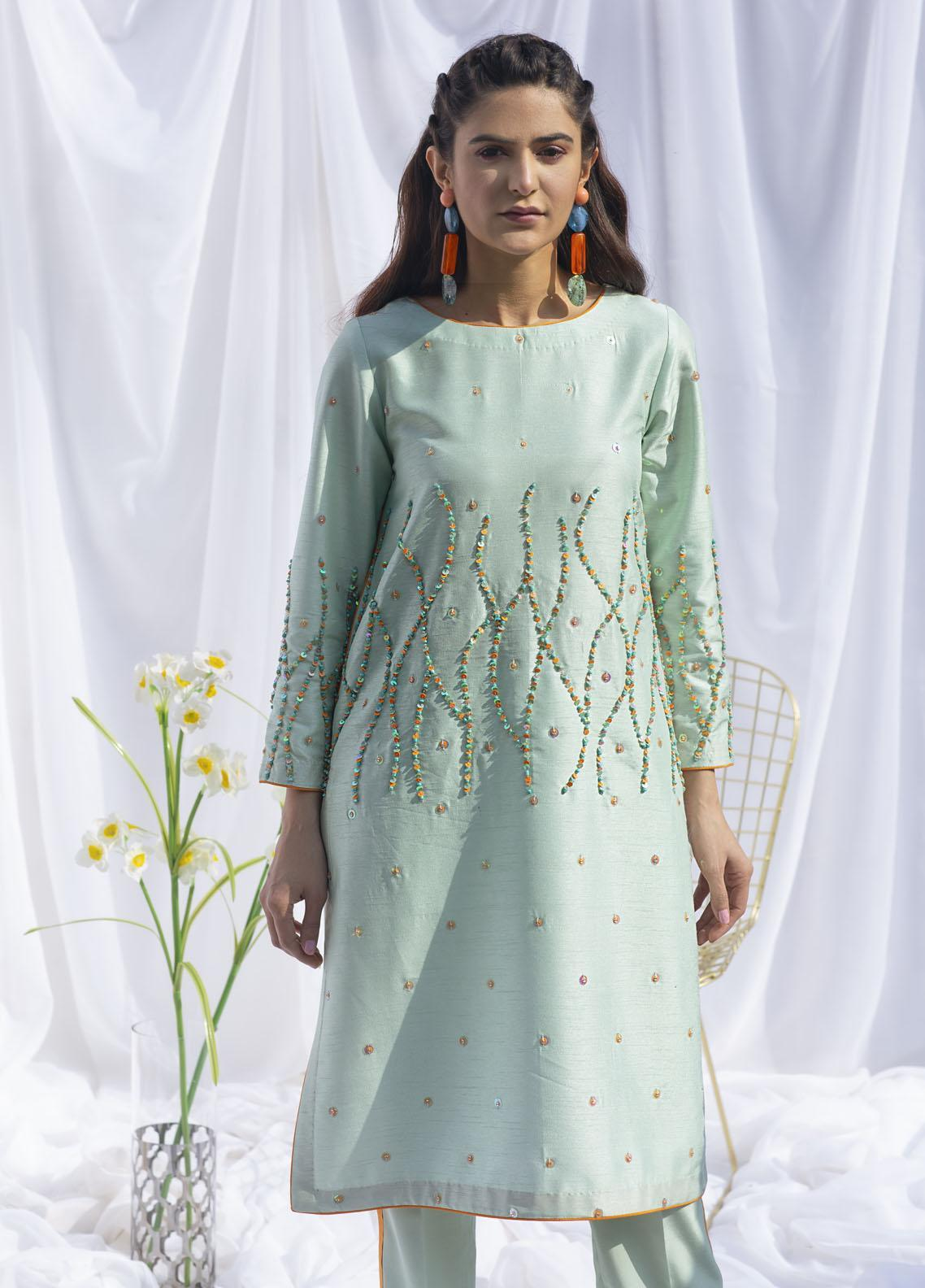 Hana Luxury Pret Embroidered Raw Silk 2 Piece Dress SWISS MINT