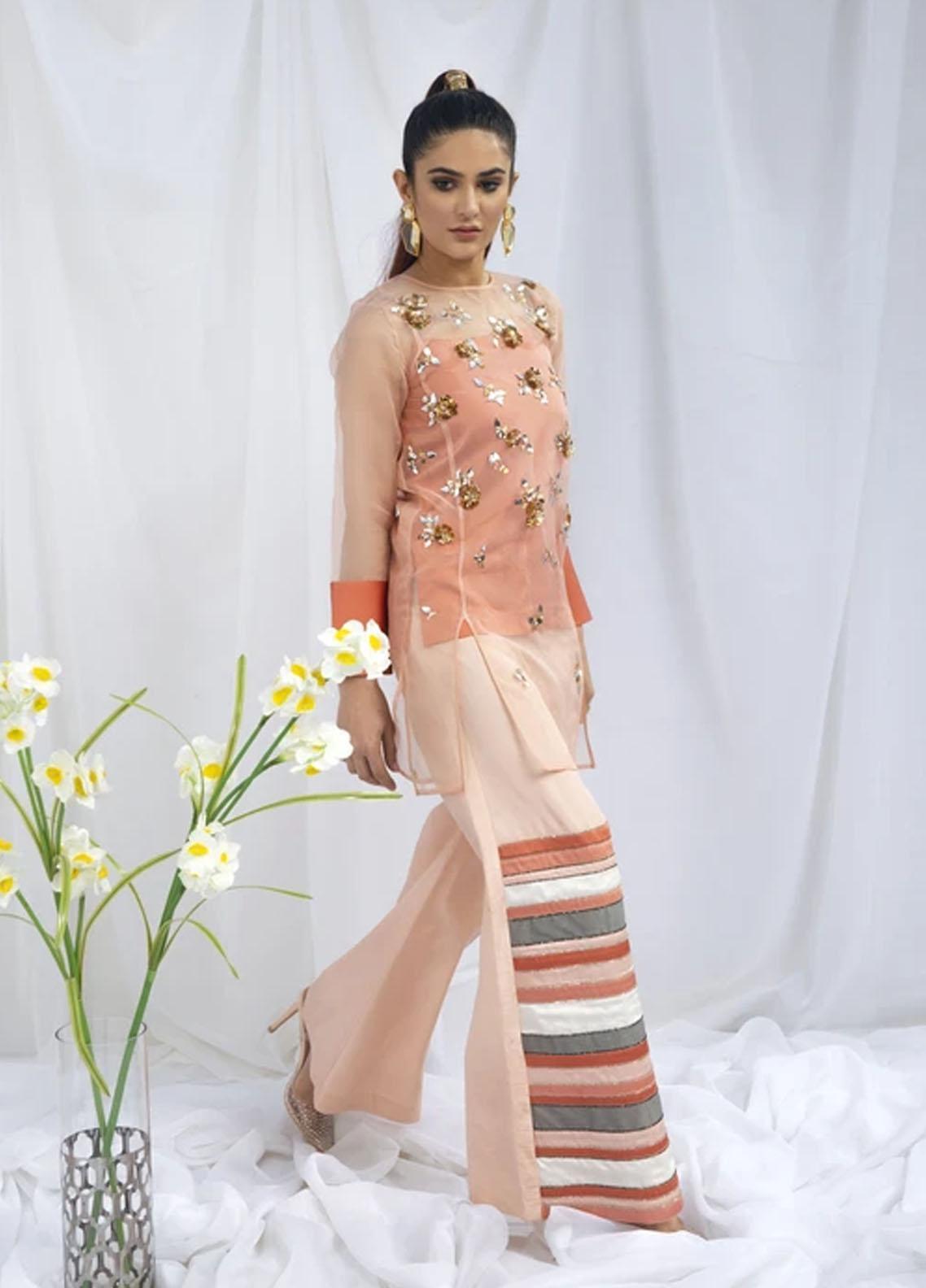 Hana Luxury Pret Embroidered Raw Silk 2 Piece Dress Tiffany