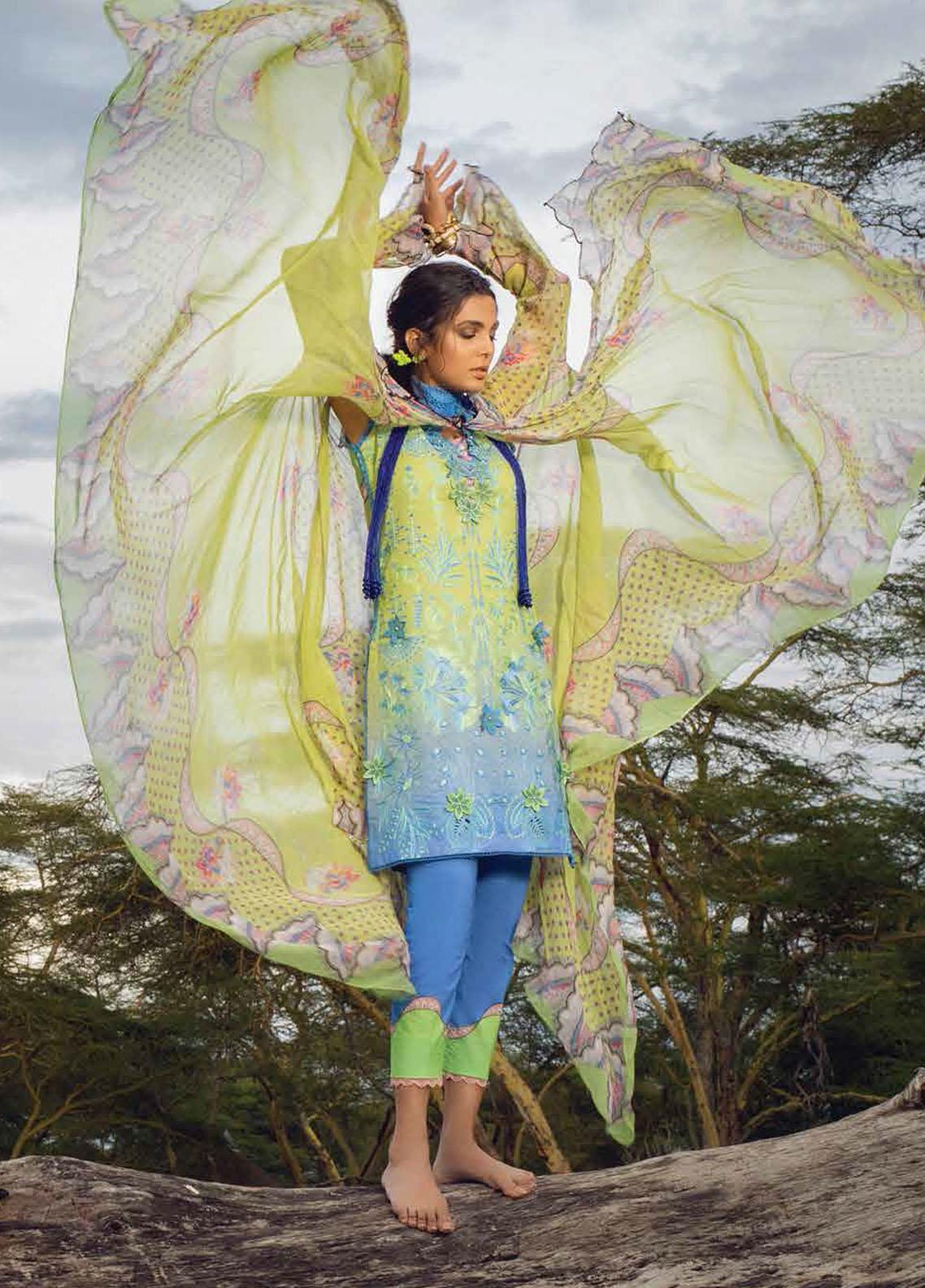 Hemline By Mushq Embroidered Chikankari Suits Unstitched 3 Piece MQ21H 07 Weeping Willow - Spring / Summer Collection