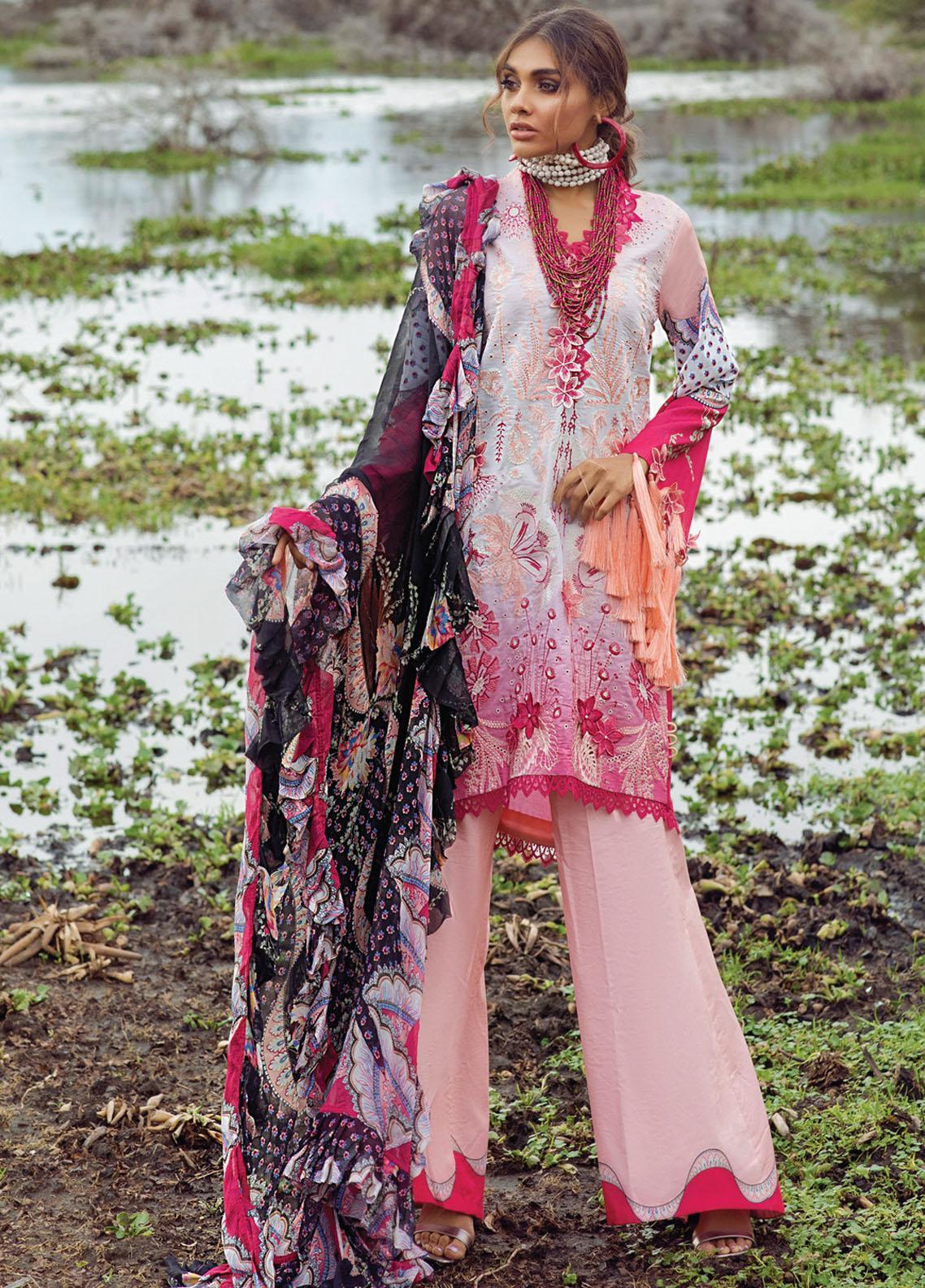 Hemline By Mushq Embroidered Chikankari Suits Unstitched 3 Piece MQ21H 08 Pink Flambe - Spring / Summer Collection